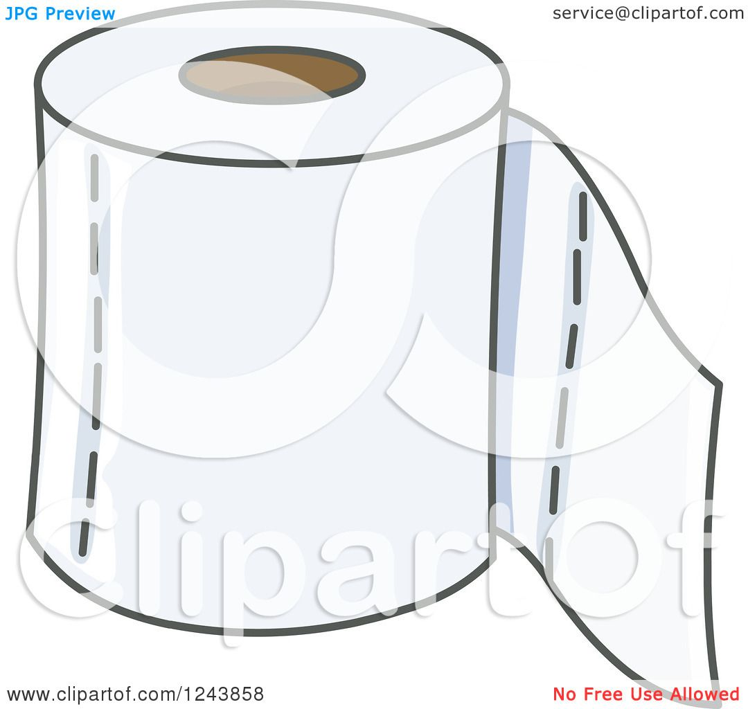 Clipart of a Toilet Paper Roll - Royalty Free Vector ...