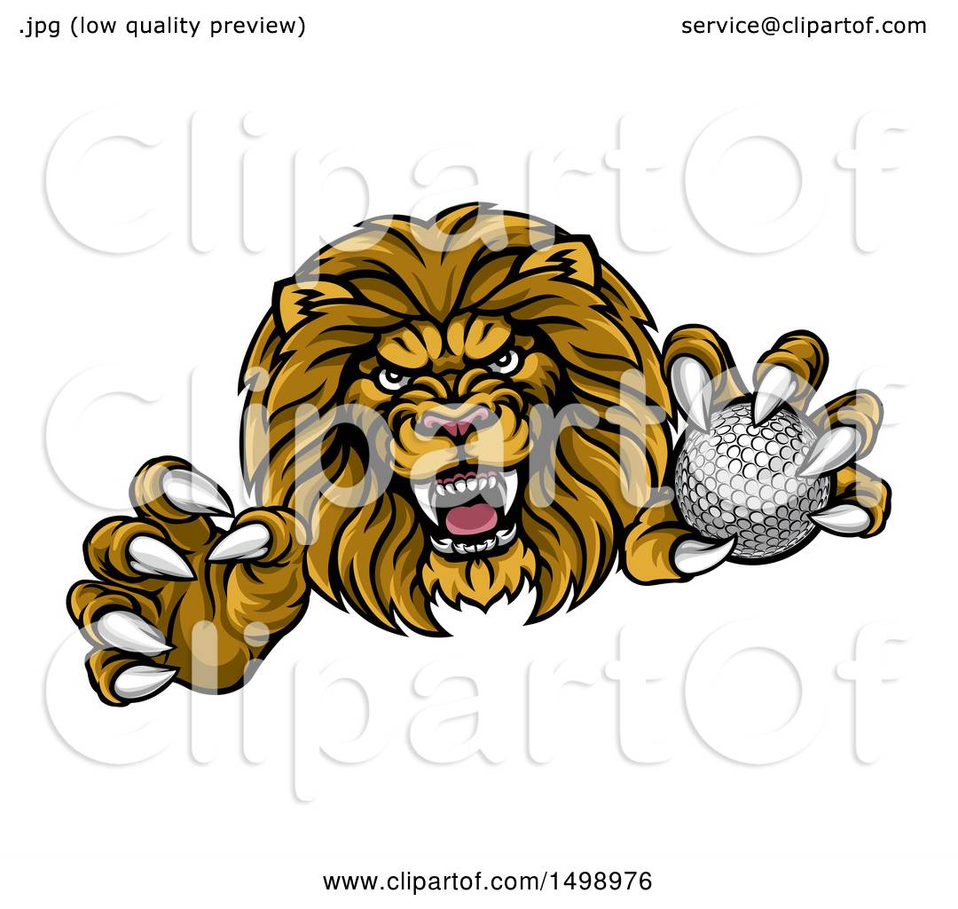 clipart of a tough clawed male lion monster mascot holding a golf