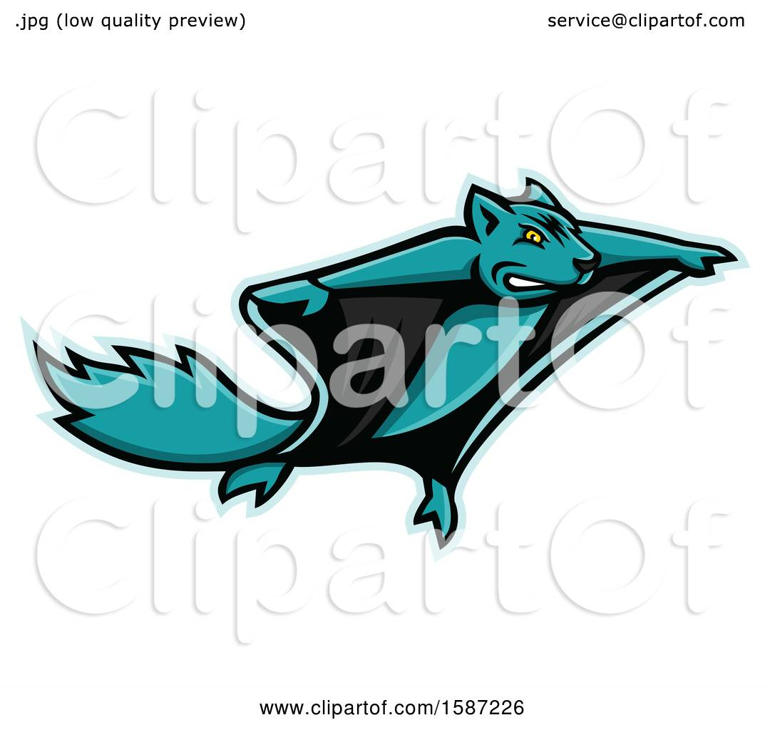Clipart Of A Tough Flying Squirrel Mascot Royalty Free Vector