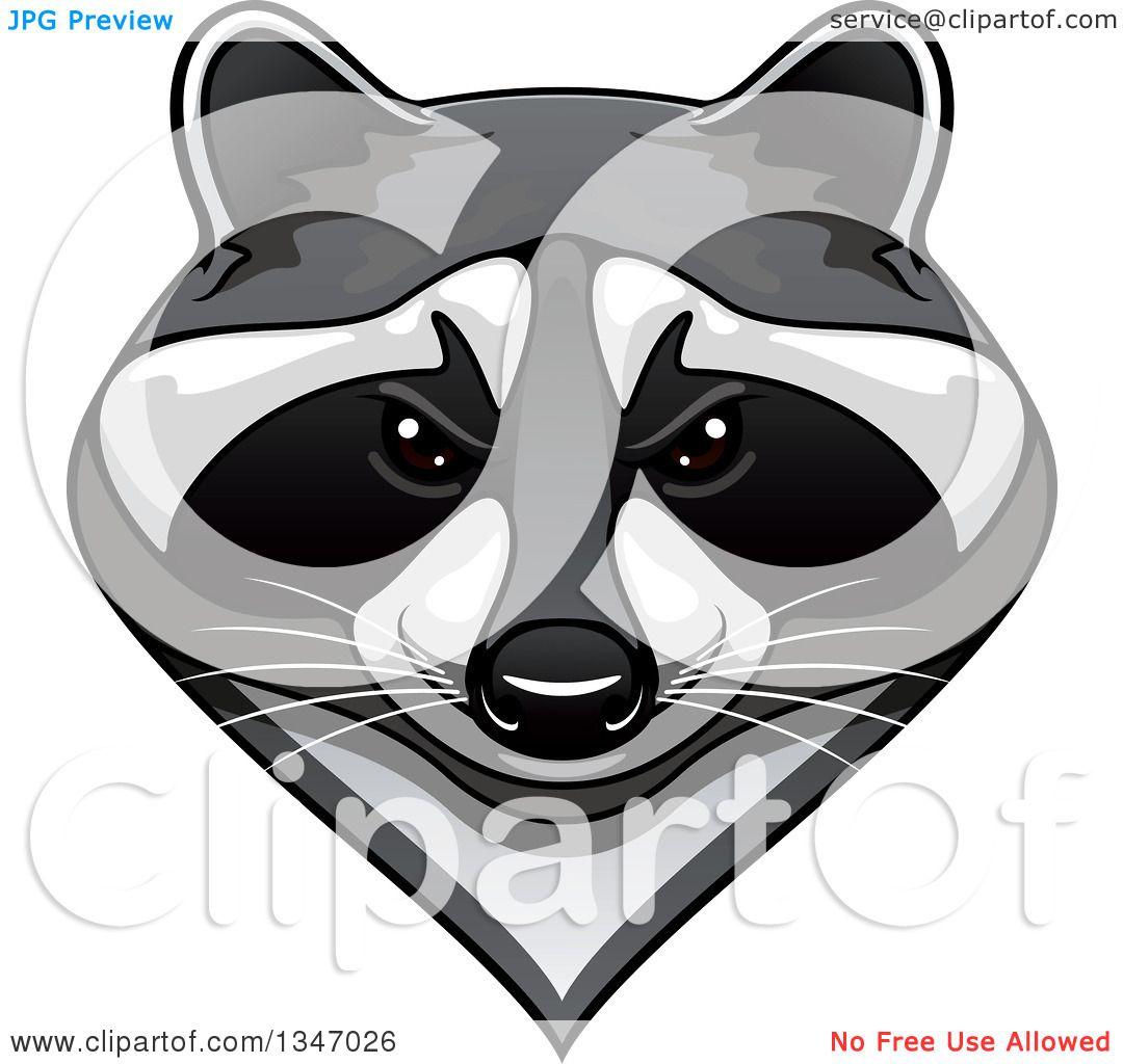 Clipart of a Tough Raccoon Mascot Face - Royalty Free ... Raccoon Face Clip Art