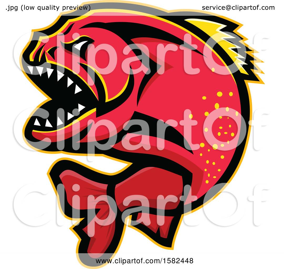 Clipart of a Tough Red Piranha Fish Mascot - Royalty Free Vector ...
