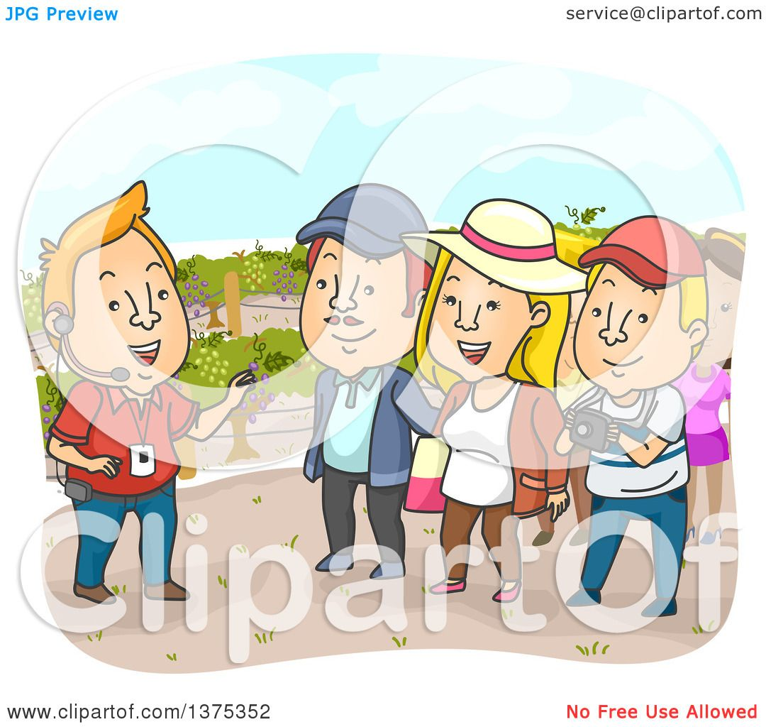 Clipart Of A Tour Guide And Tourists In Vineyard