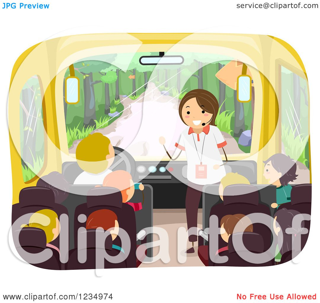 Clipart Of A Tour Guide Speaking To Children On Bus