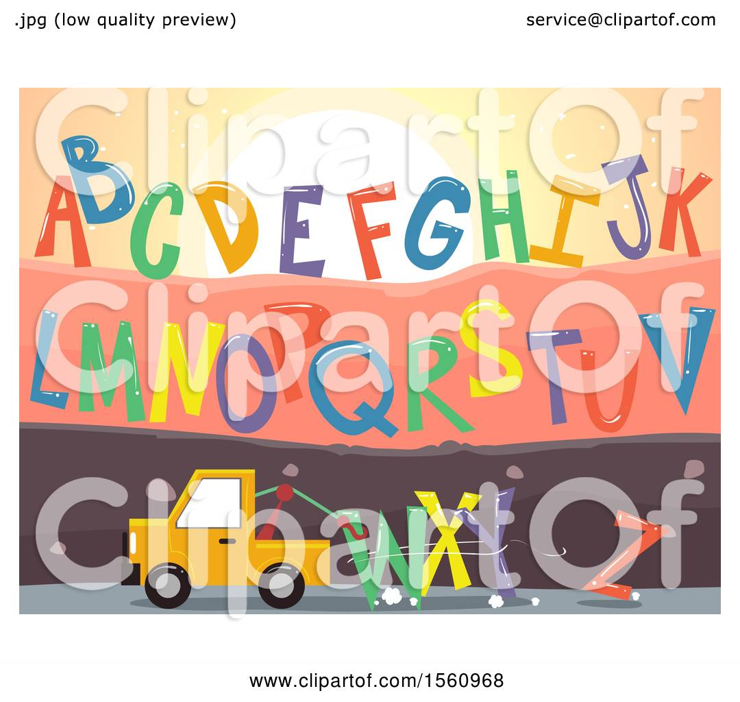 Clipart of a Tow Truck with the Letters of the Alphabet from the ...