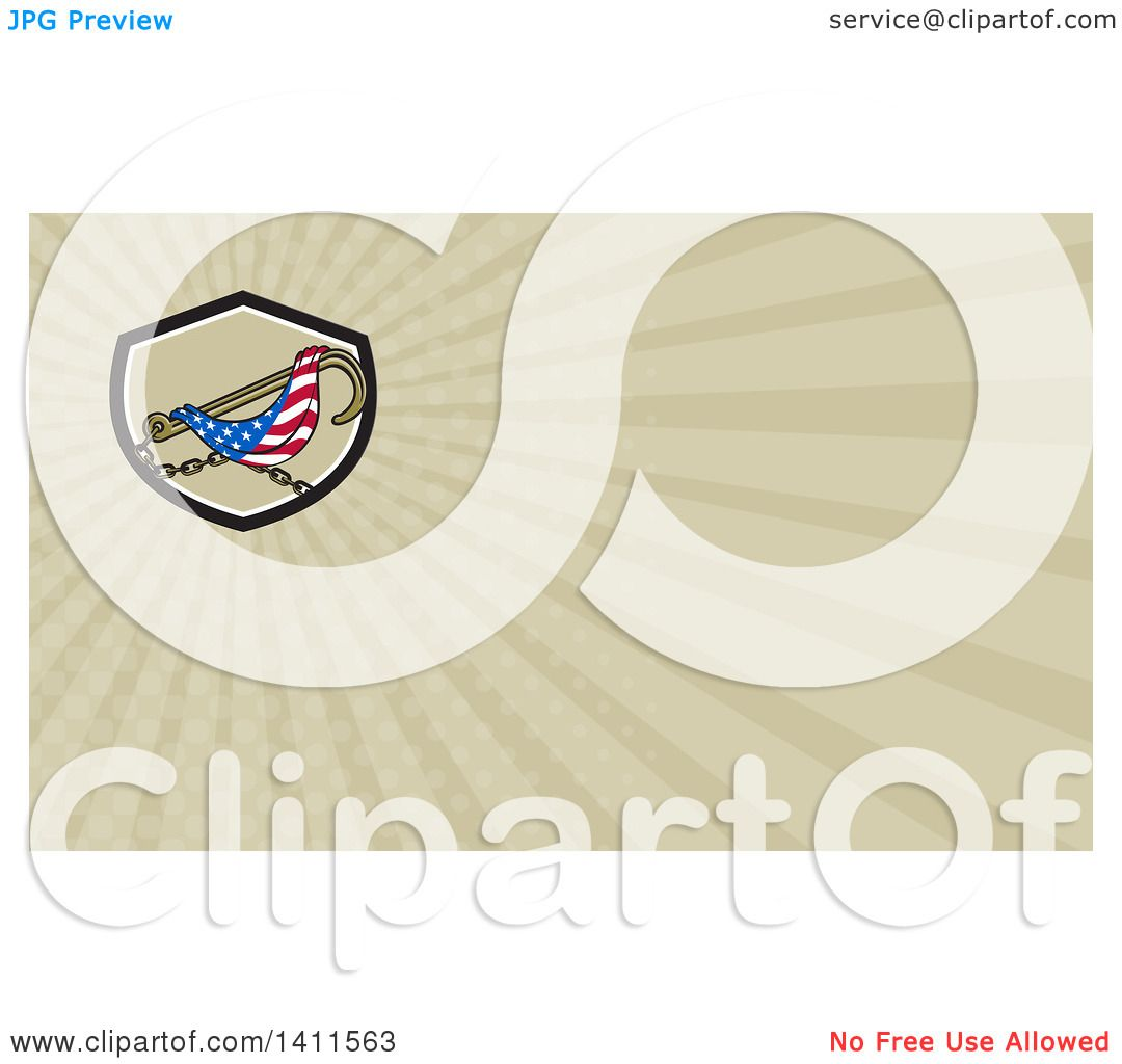 Clipart of a Towing J Hook and American Flag and Rays Background ...
