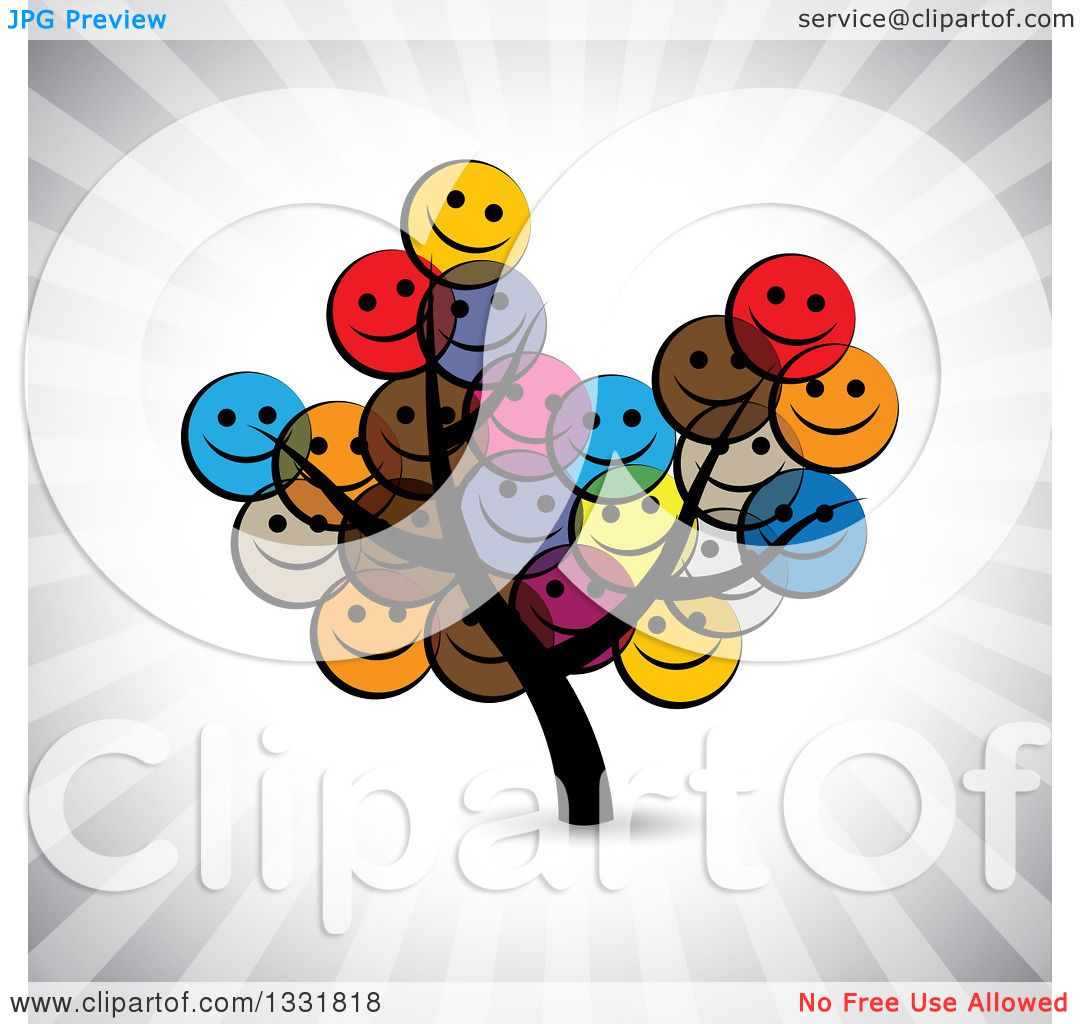 Clipart of a Tree with Happy Colorful Smiley Face Emoticon ...