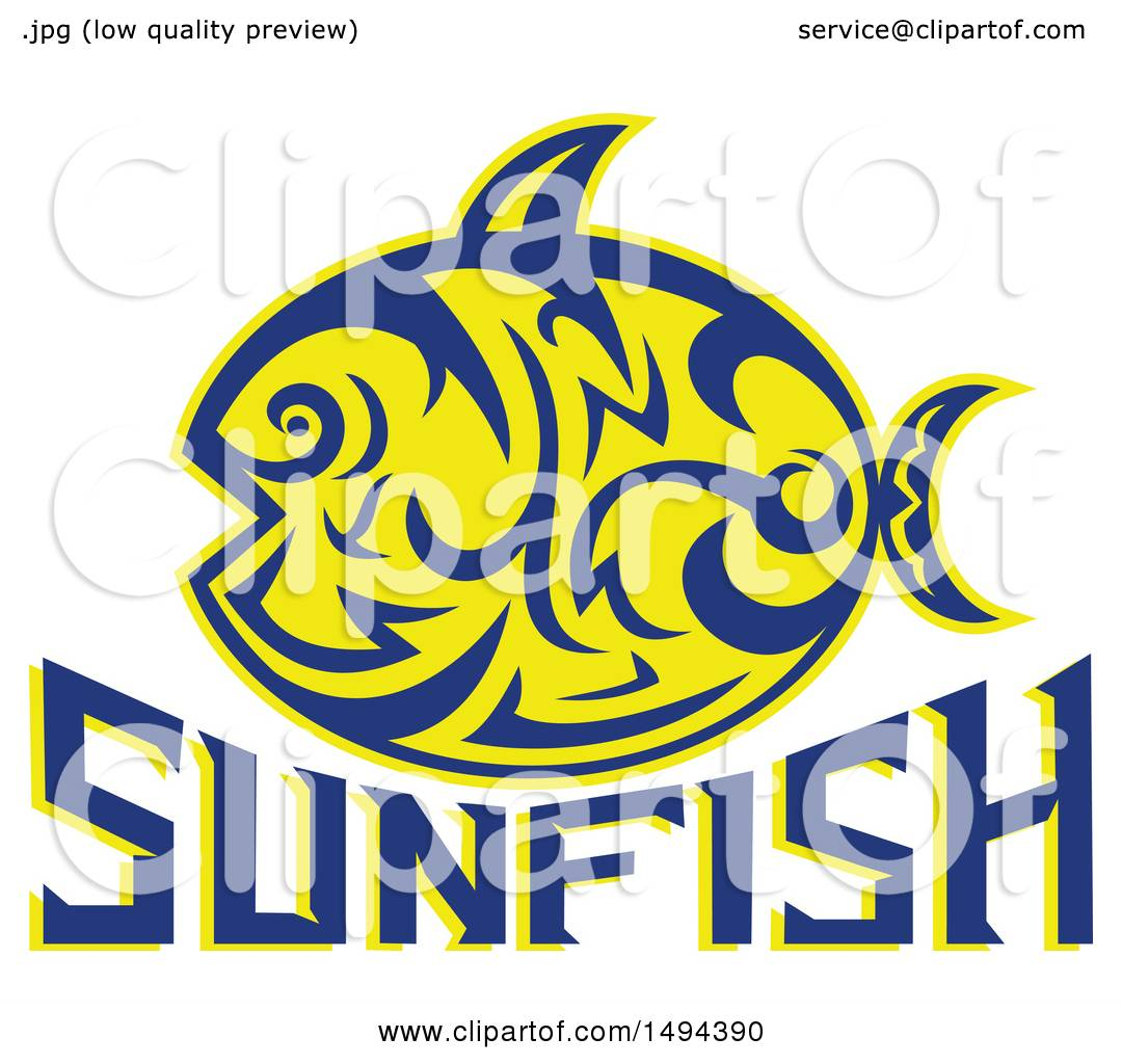 a9253ab7aa6cb Clipart of a Tribal Styled Sunfish Common Mola over Text - Royalty Free  Vector Illustration by
