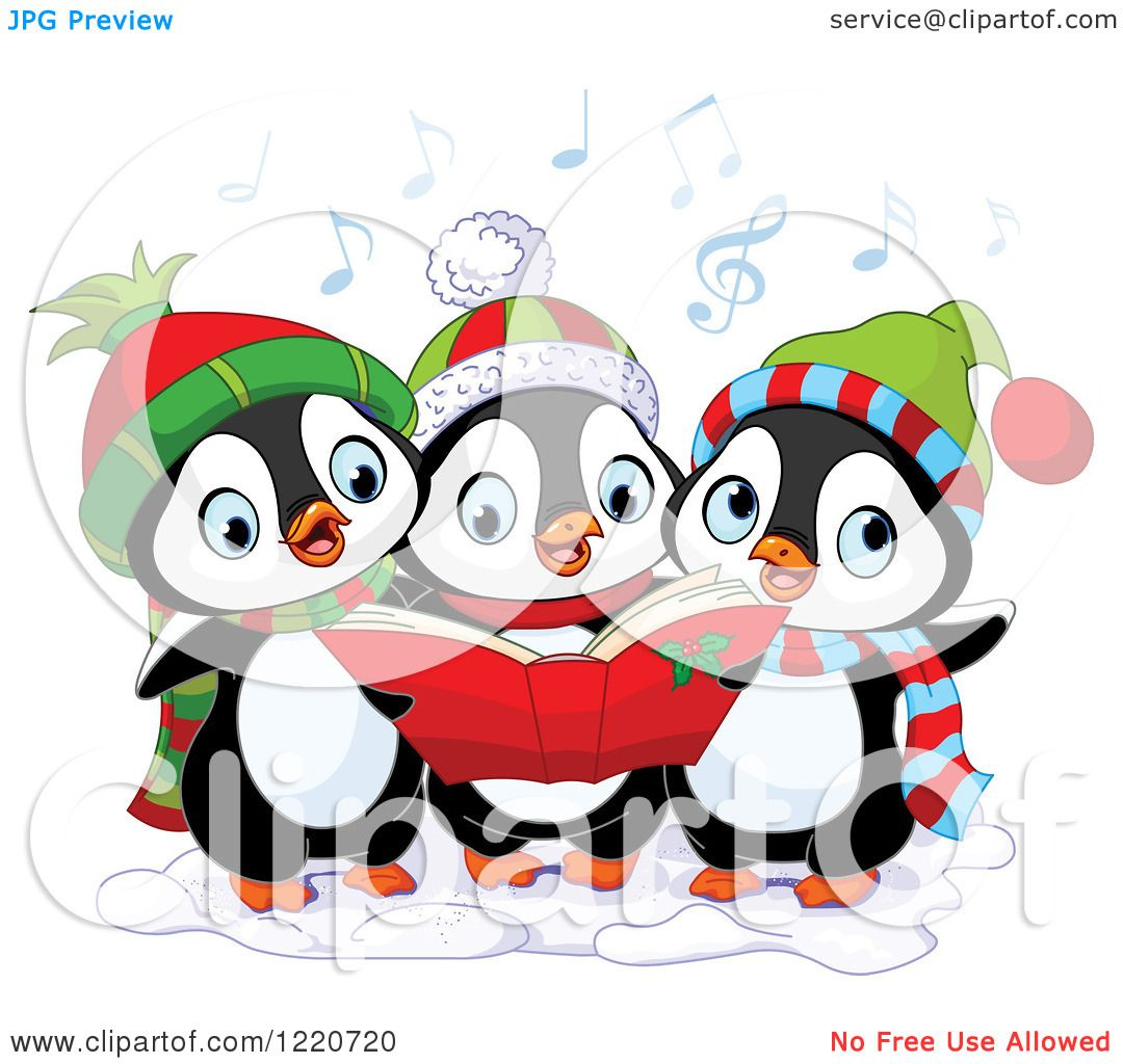 Clipart Of A Trio Of Cute Penguins Singing Christmas