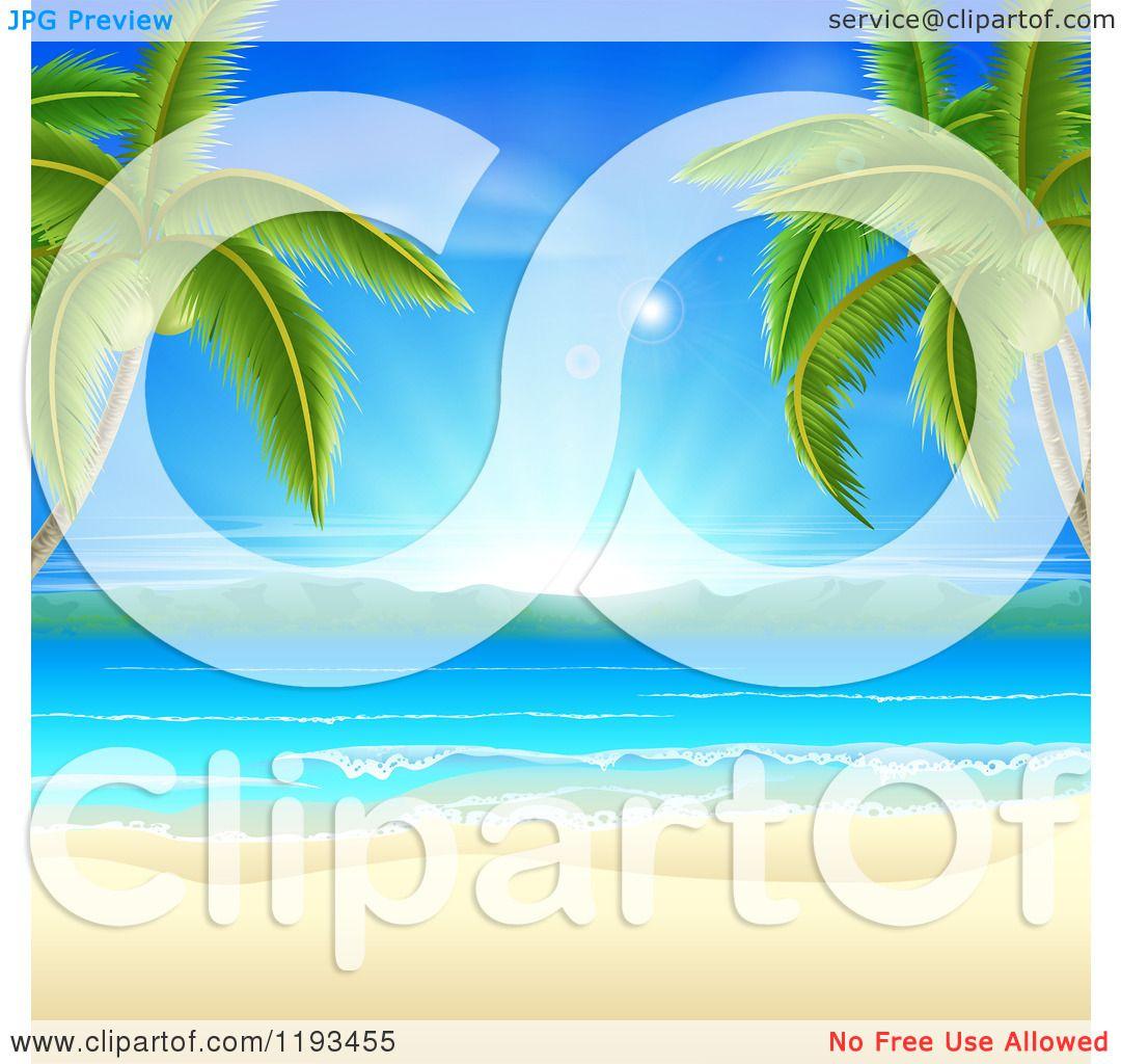Beach Background Clipart Clipart of a Tropical Beach