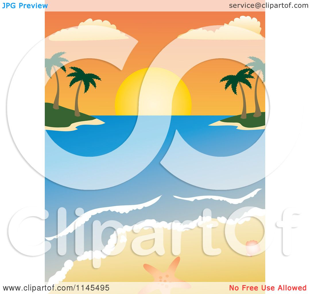 Clipart of a Tropical Beach Sunset in the Bay with ...