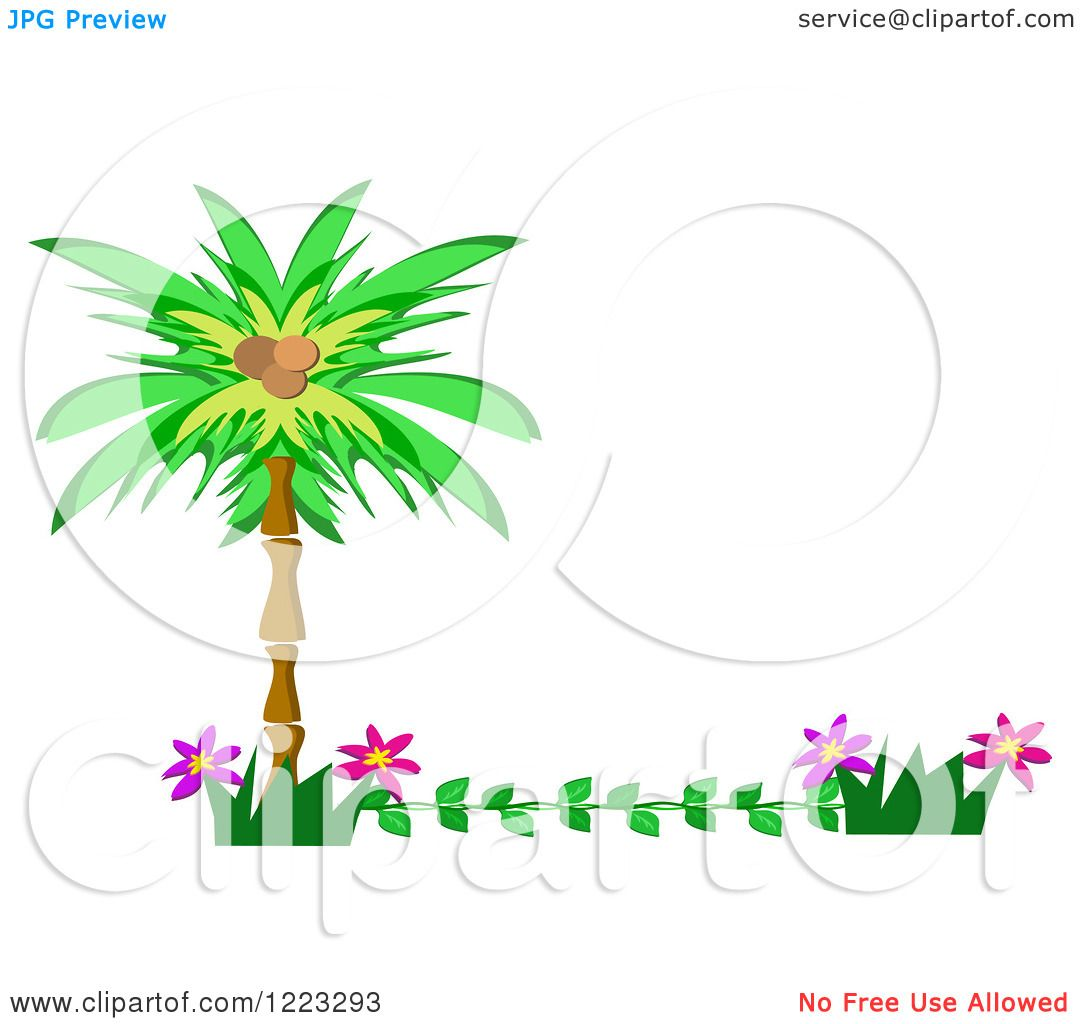 Clipart of a Tropical Palm Tree and Flower Border - Royalty Free ...