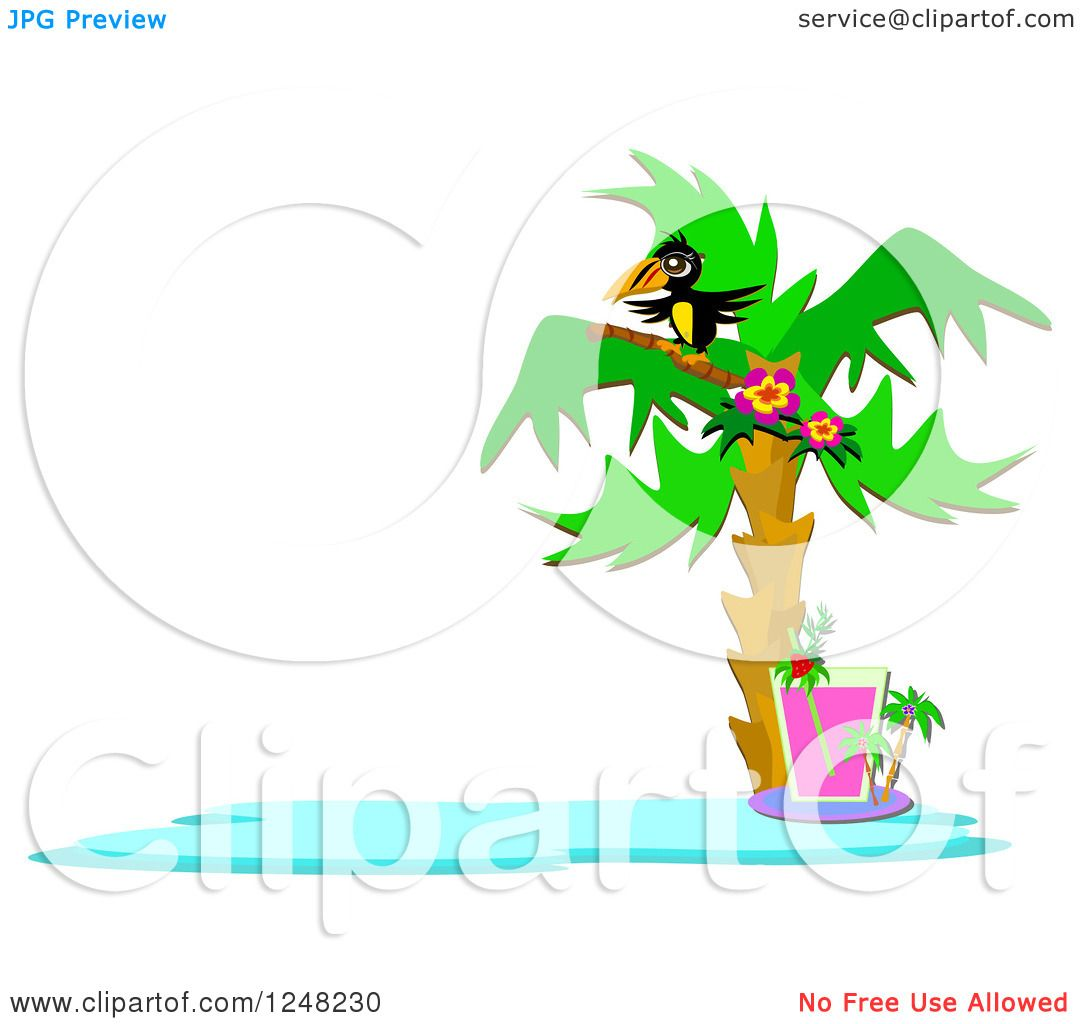 Clipart of a Tropical Toucan Bird in a Palm Tree over a Cocktail ...