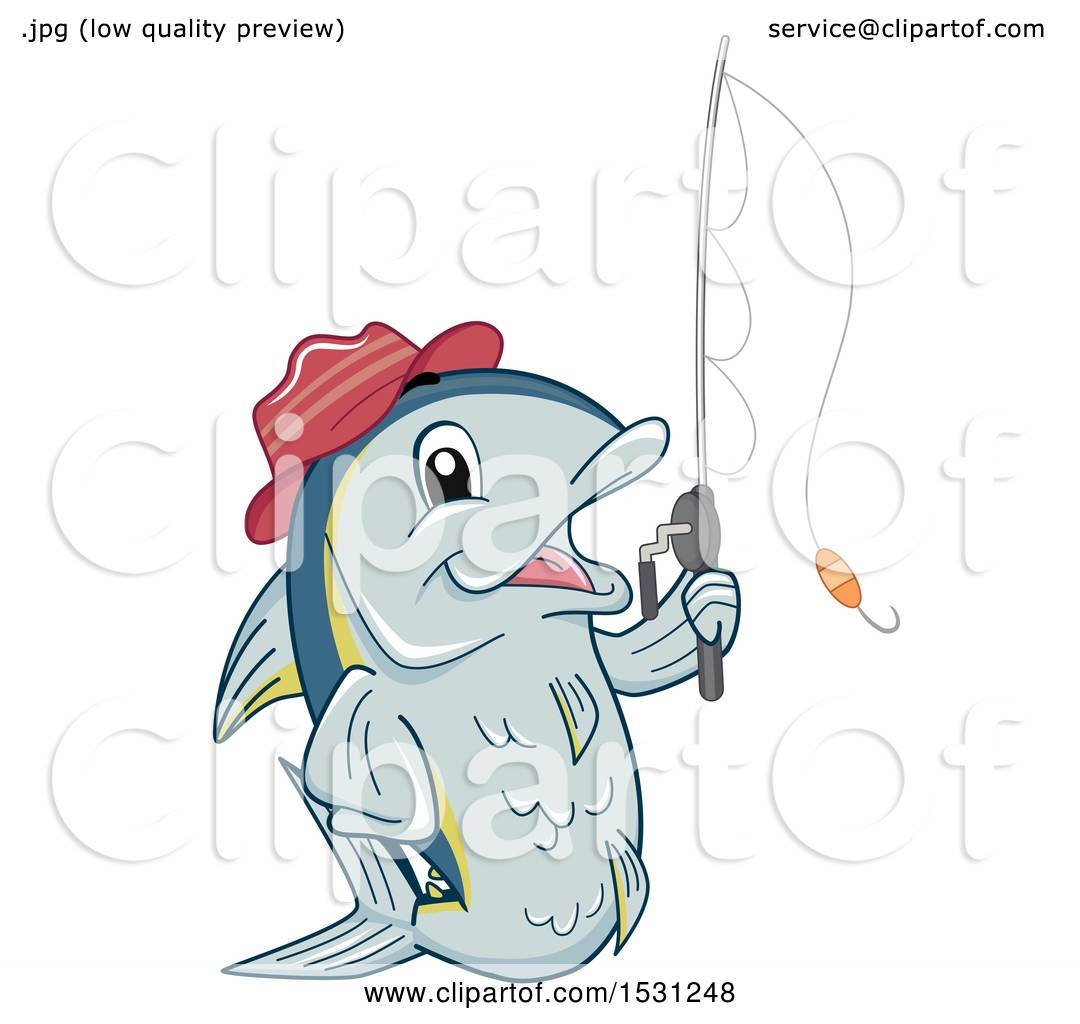 Clipart of a Tuna Fish Mascot Wearing a Hat and Holding a Fishing ...