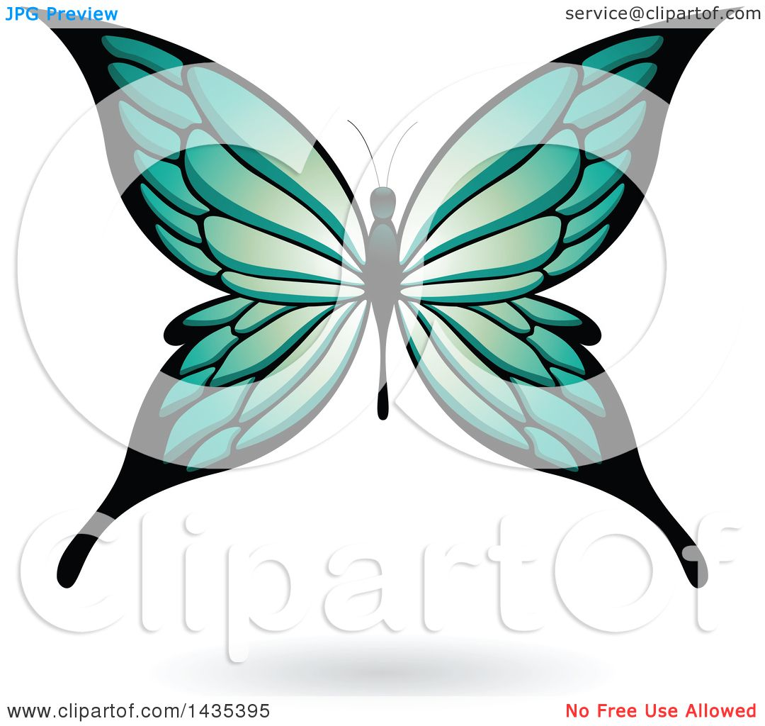 clipart of a turquoise butterfly with a shadow royalty