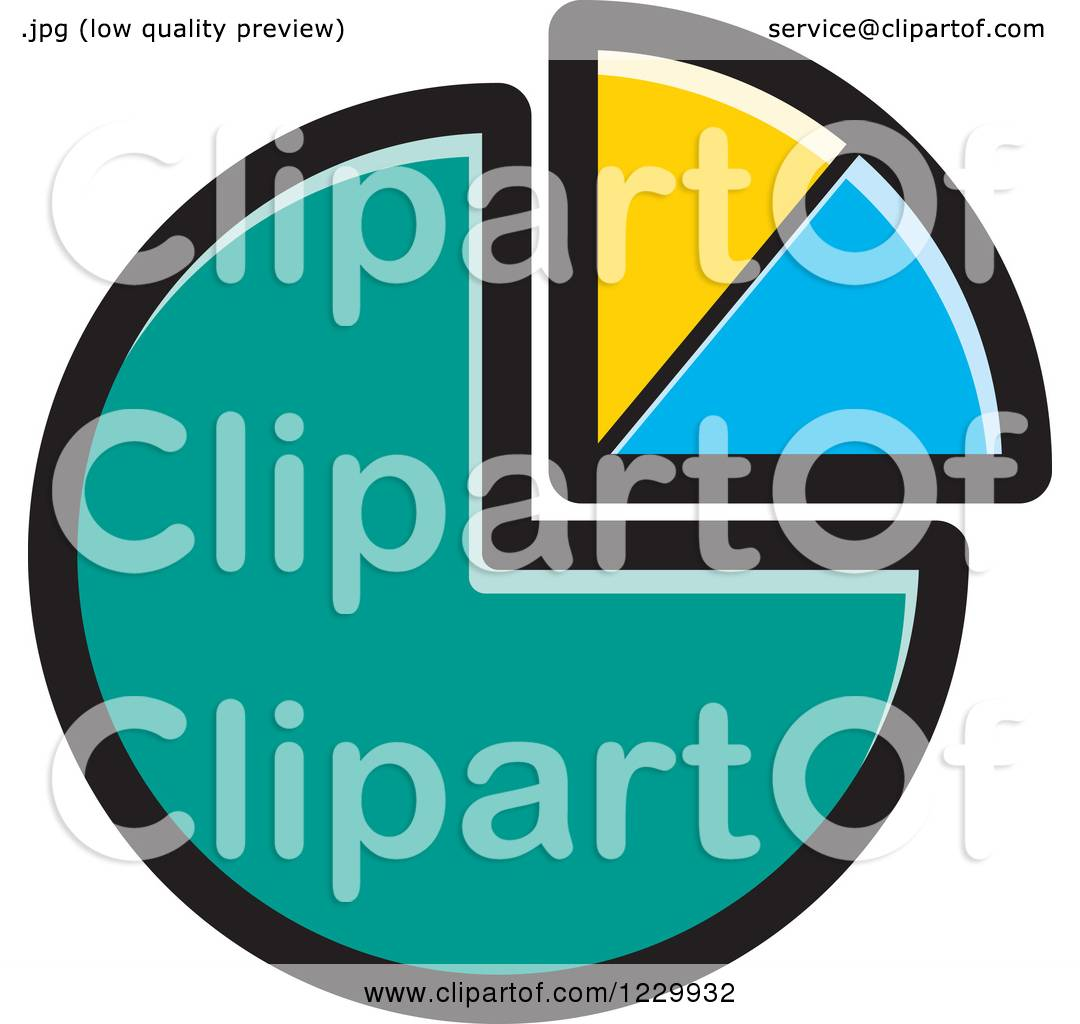 Clipart Of A Turquoise Yellow And Blue Pie Chart Icon Royalty Free