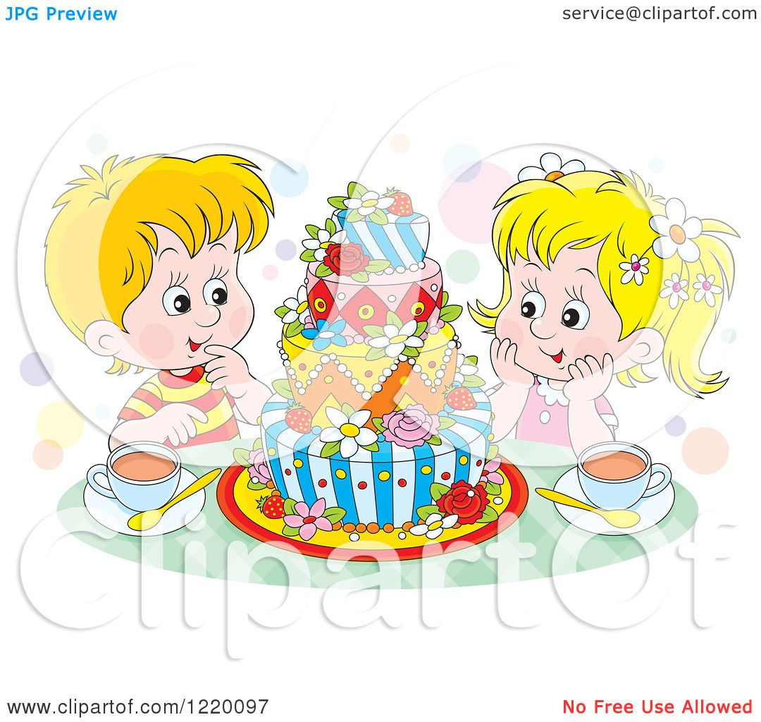 Clipart Of A Twin Boy And Girl With Tea And A Colorful Cake