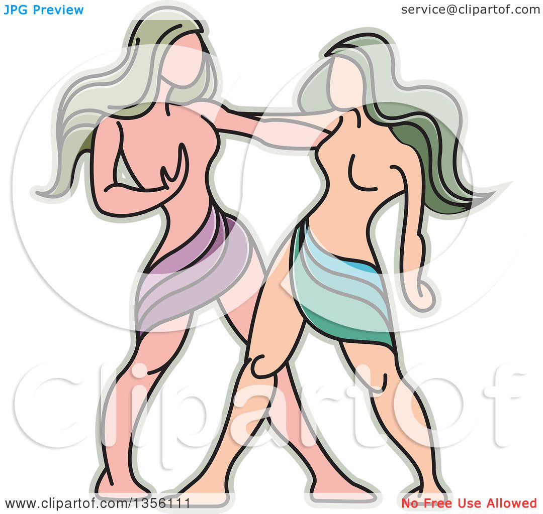 Clipart of a Twin Gemini Horoscope Zodiac Astrology Icon - Royalty ...