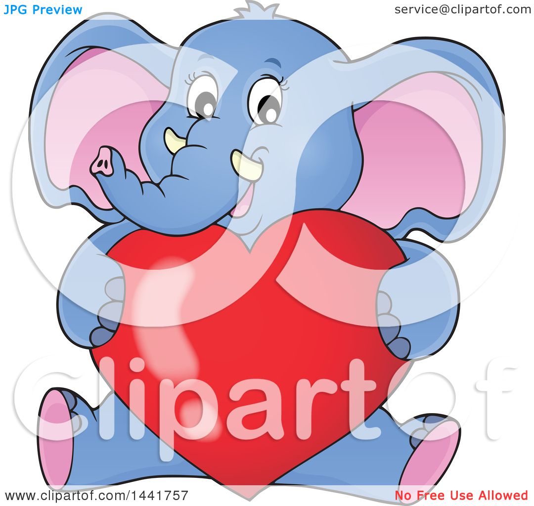 dbd10525603b1 Clipart of a Valentine Elephant Sitting and Hugging a Love Heart ...