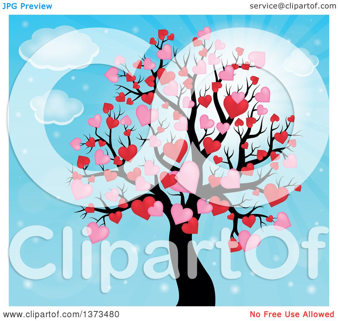 Clipart of a Valentines Day Tree with Pink and Red Heart Foliage over Blue Sky - Royalty Free ...