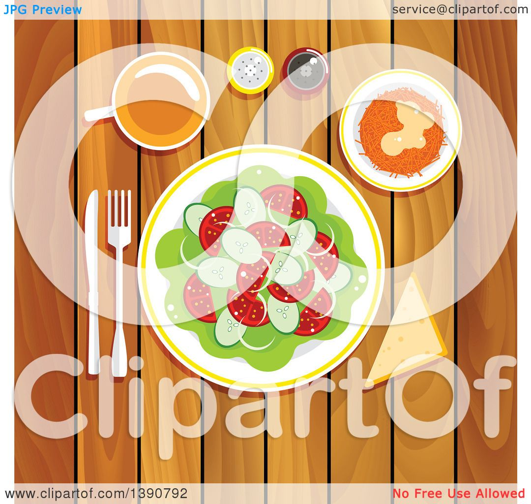 clipart of a vegetarian lunch on a wooden table with fresh vegetable salad with tomatoes cucumbers and onion grated carrot with whipped cream and honey