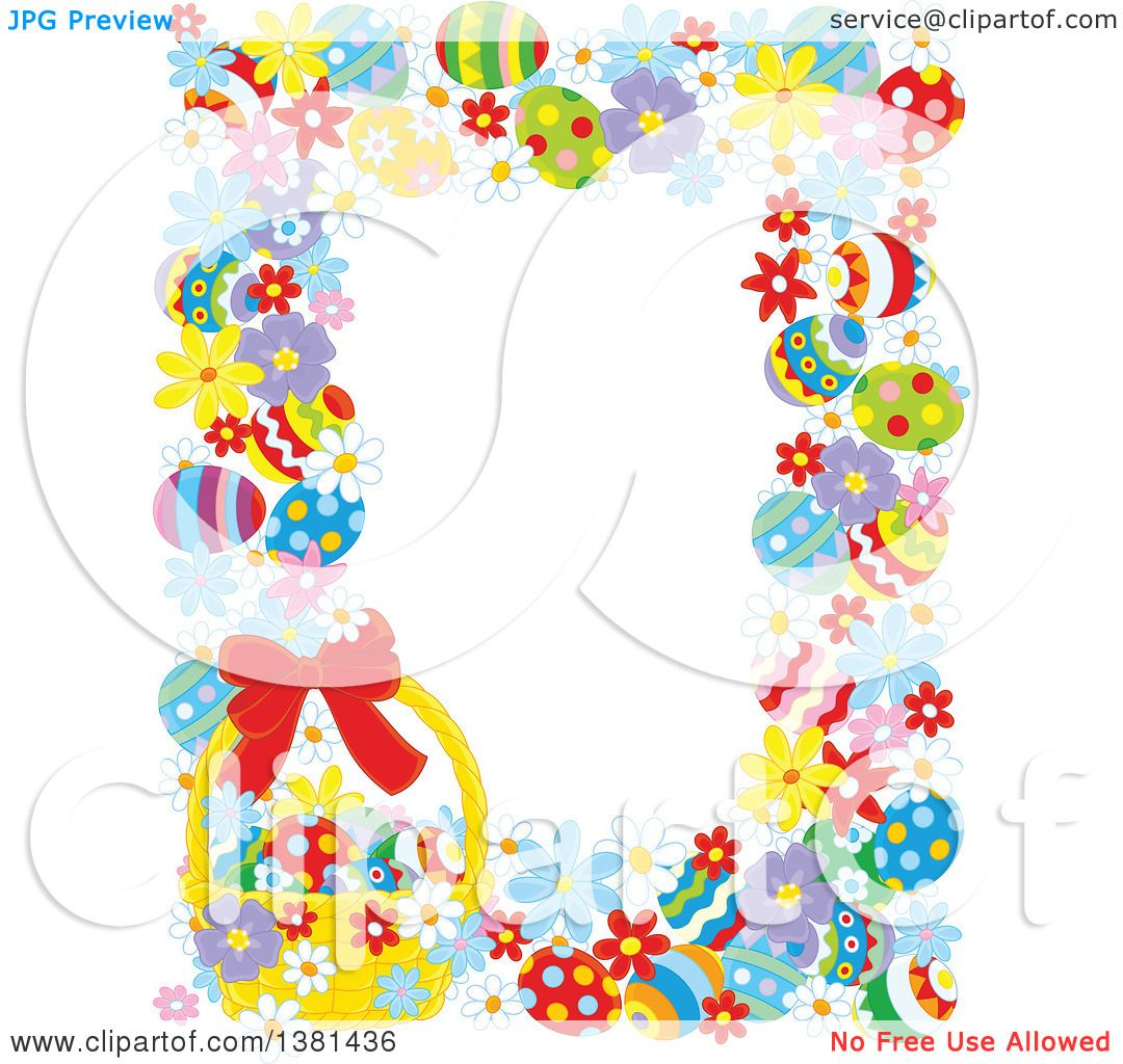 Clipart Of A Vertical Border Frame Easter Eggs Flowers And Basket