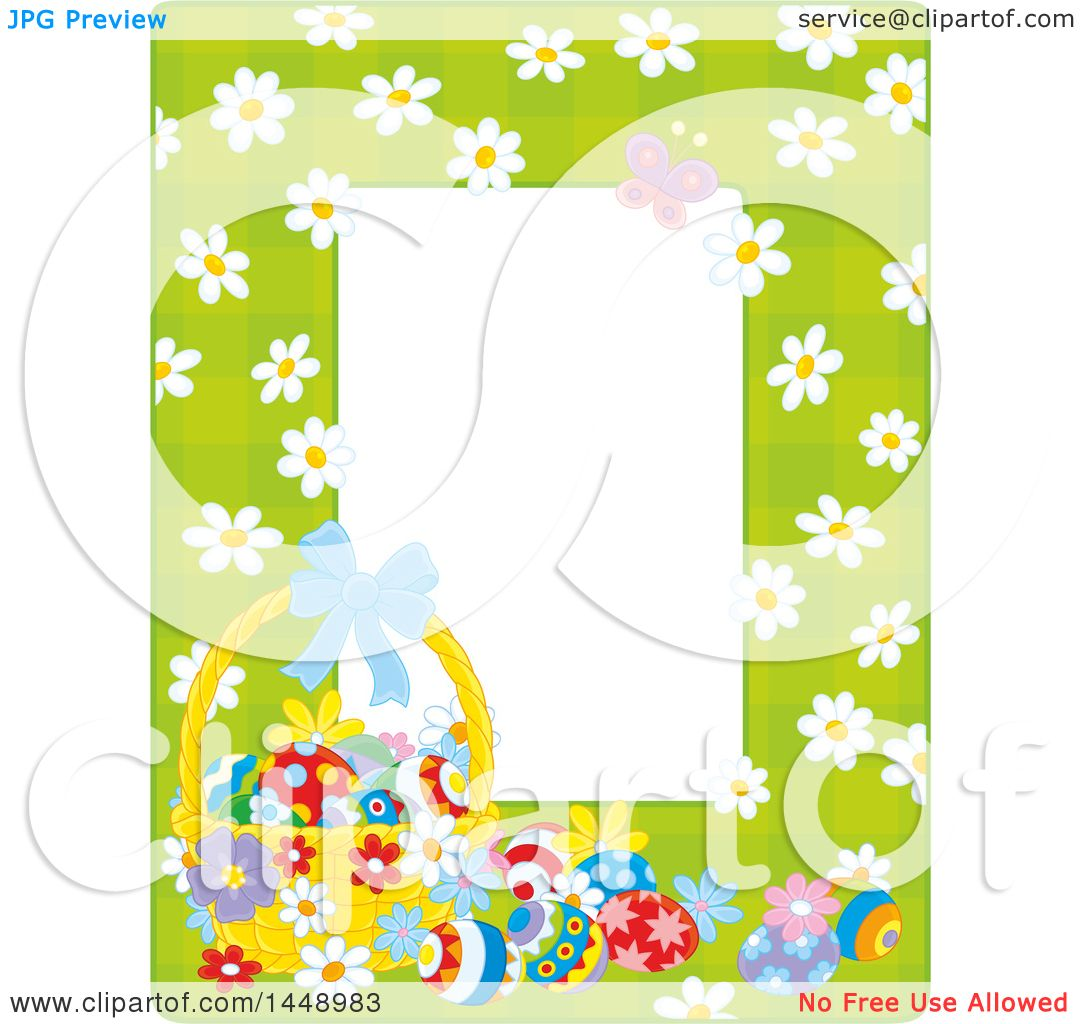 Clipart of a Vertical Green Gingham Background Frame Border with ...