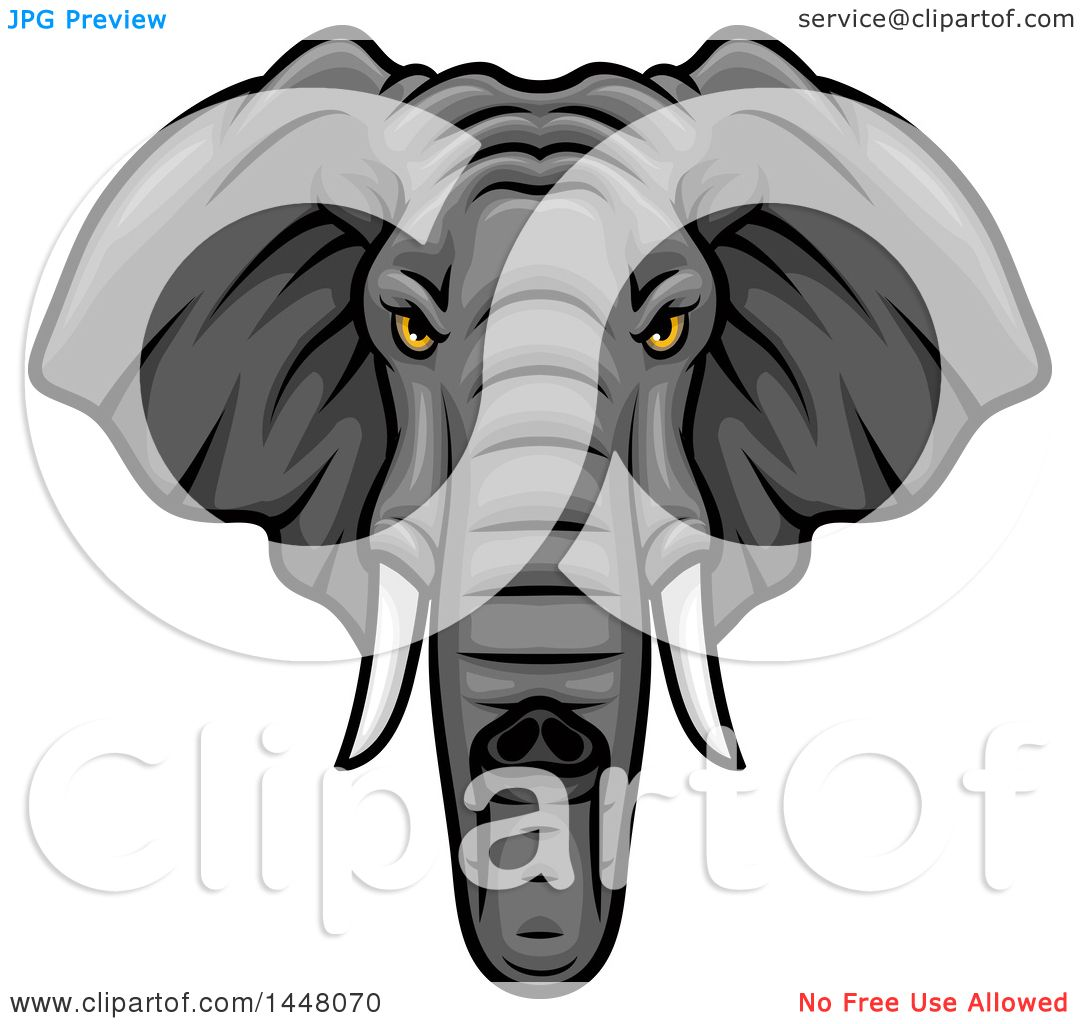 Clipart of a Vicious Elephant Mascot Face - Royalty Free Vector ...