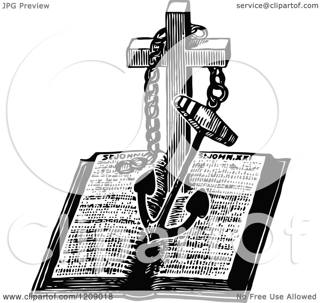 clipart of a vintage black and white anchor and cross over a bible