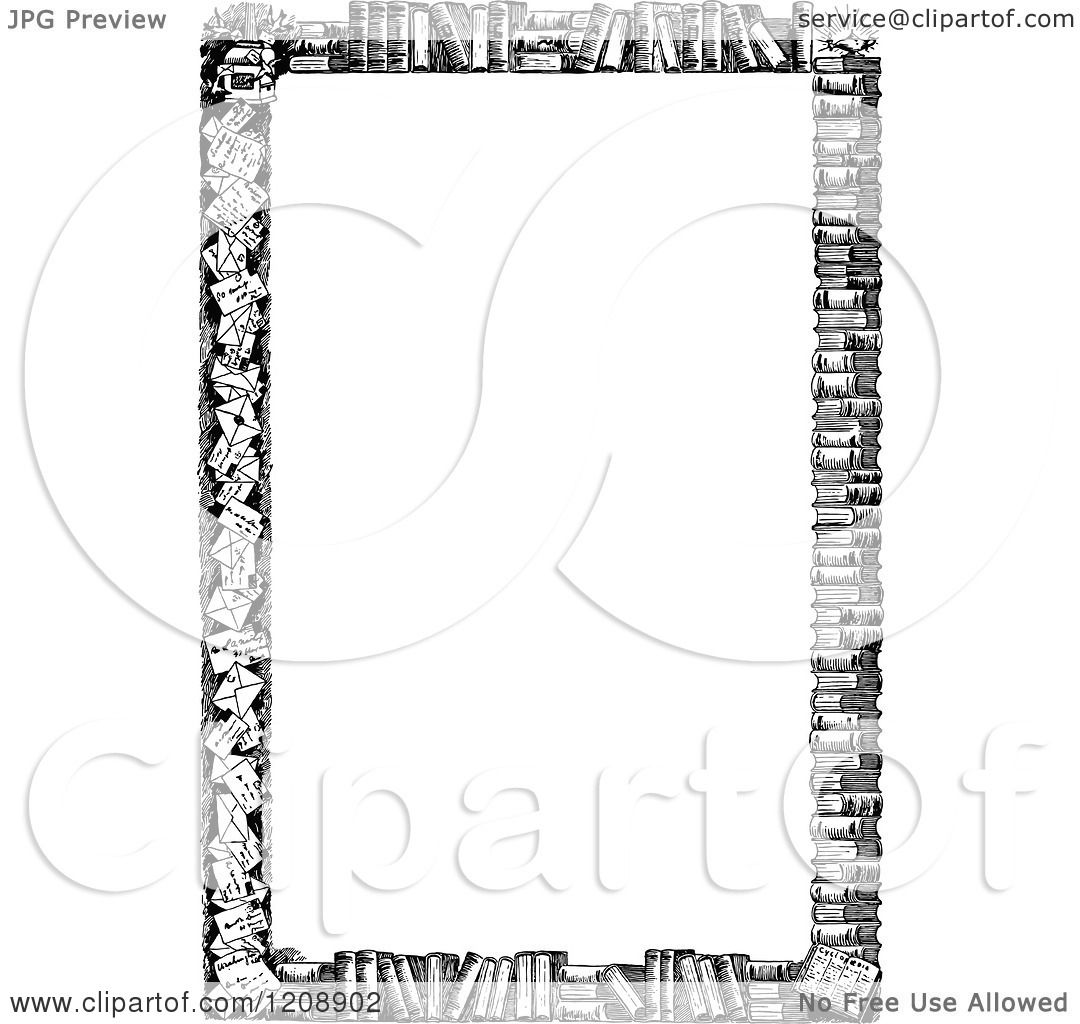 Clipart of a Vintage Black and White Border of Books ...