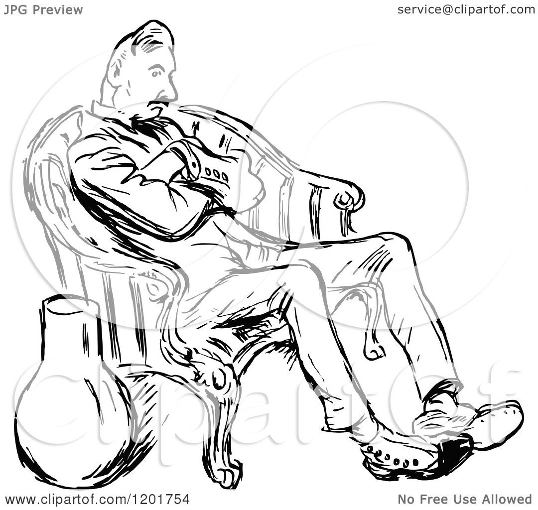 Man sitting in chair drawing - Clipart Of A Vintage Black And White Bored Man Sitting In A Chair Royalty Free Vector Illustration By Prawny Vintage