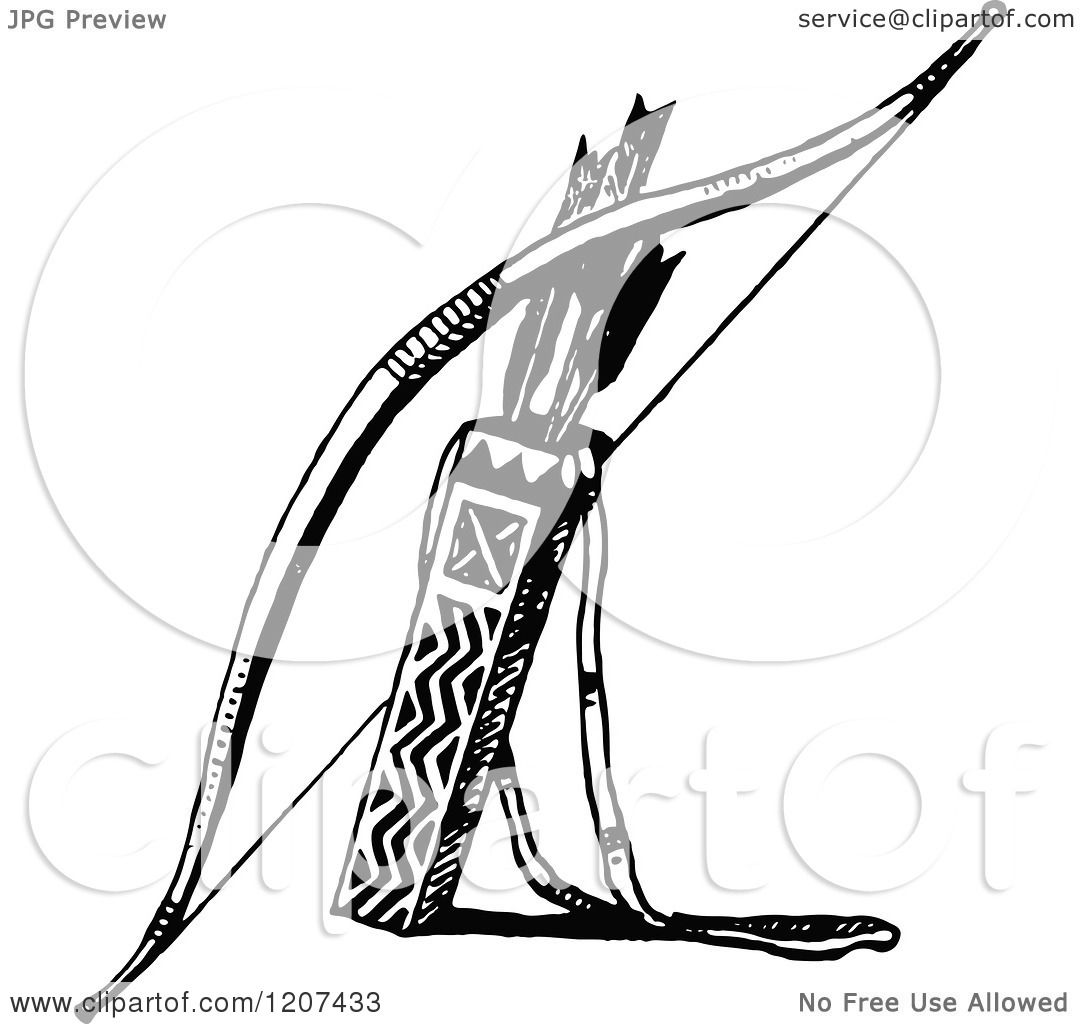 Clipart Of A Vintage Black And White Bow With Arrows