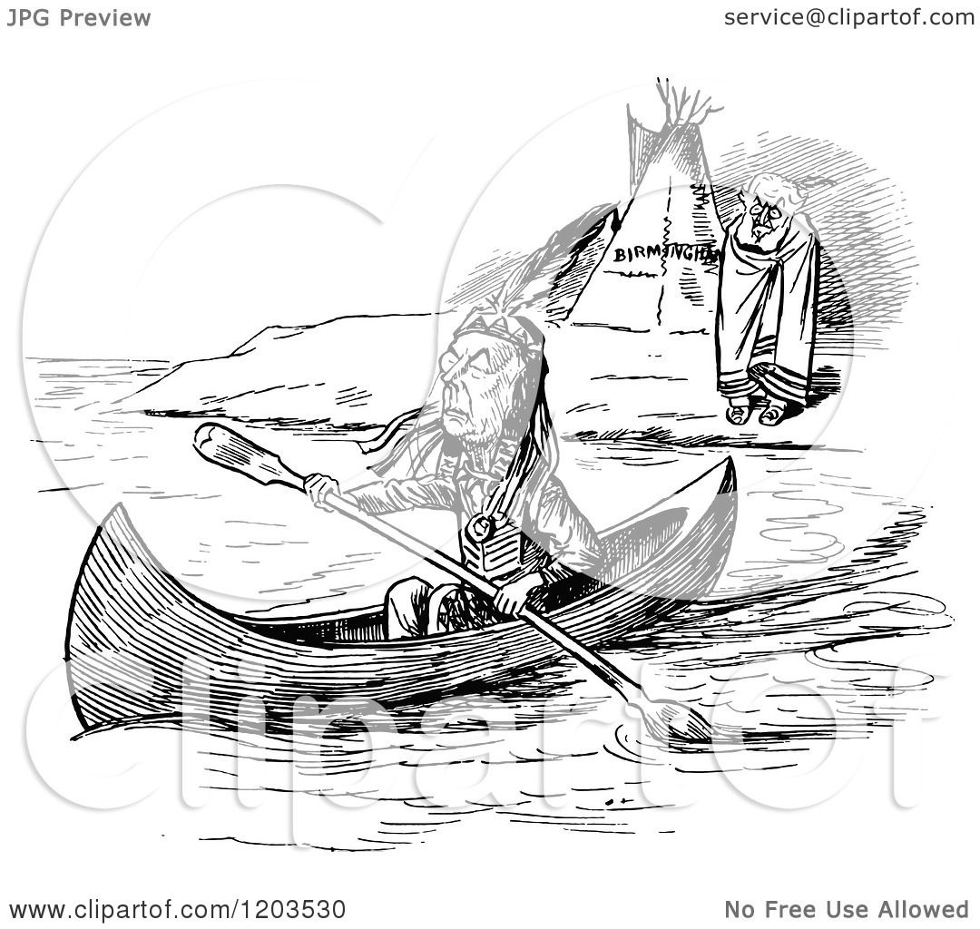 Clipart Of A Vintage Black And White Camp Native American Indian Canoe