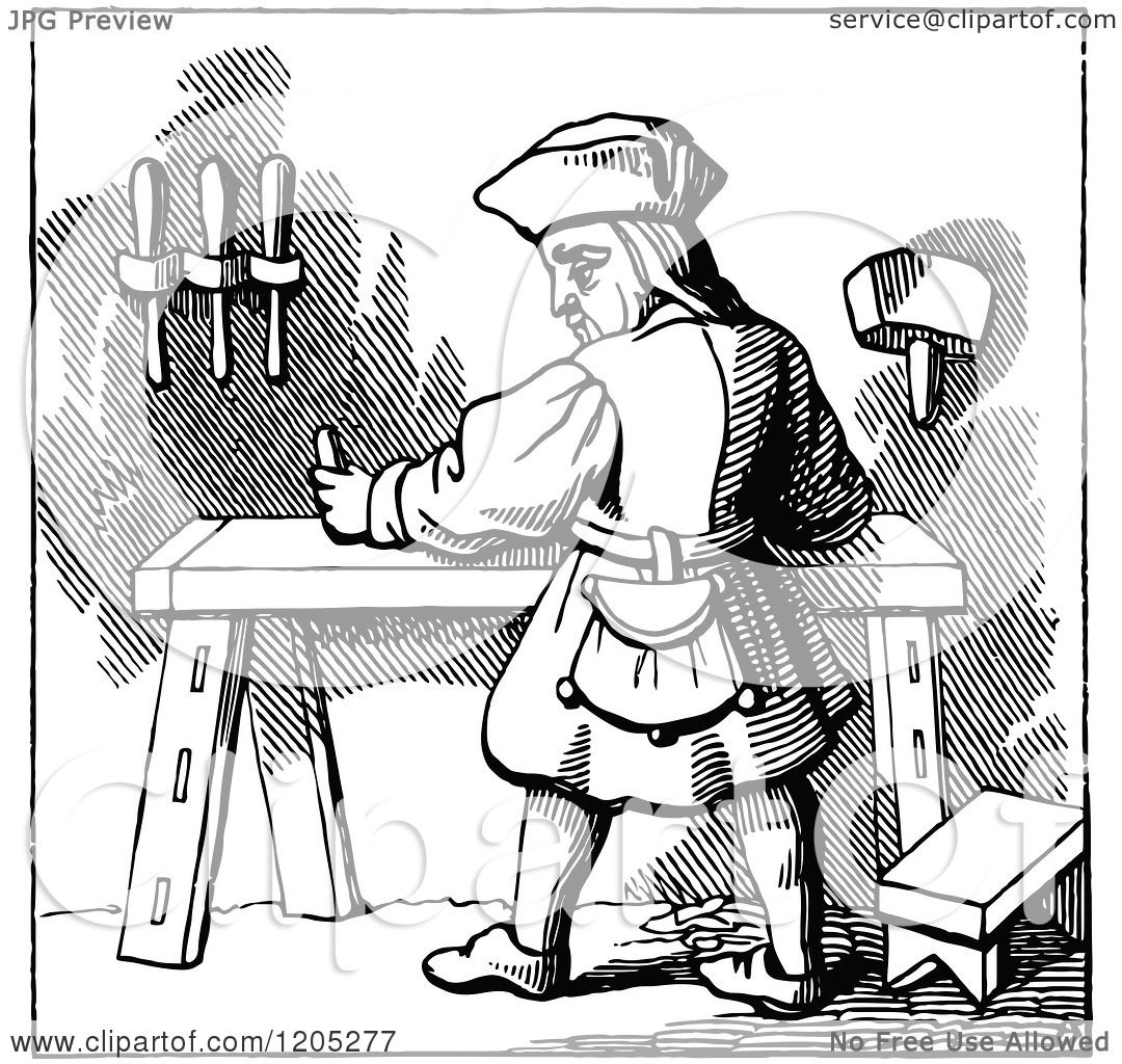 Clipart of a Vintage Black and White Carpenter - Royalty ...  Clipart of a Vi...