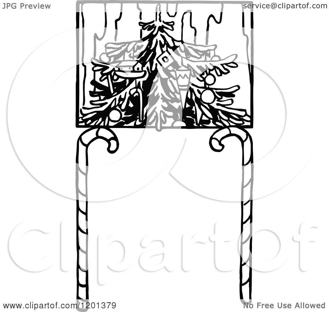 Clipart of a Vintage Black and White Christmas Tree and ...