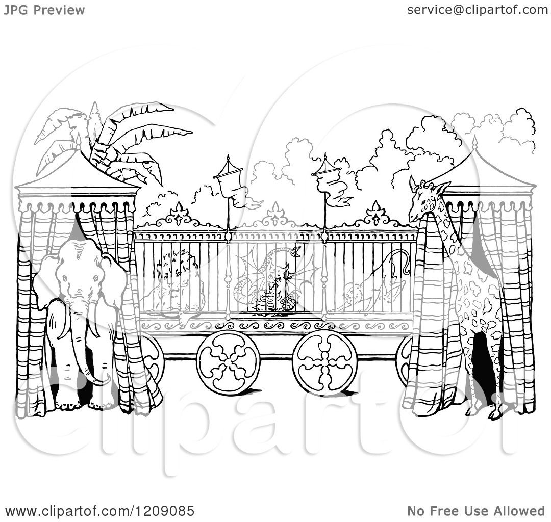 Clipart of a Vintage Black and White Circus Animal Cage ...