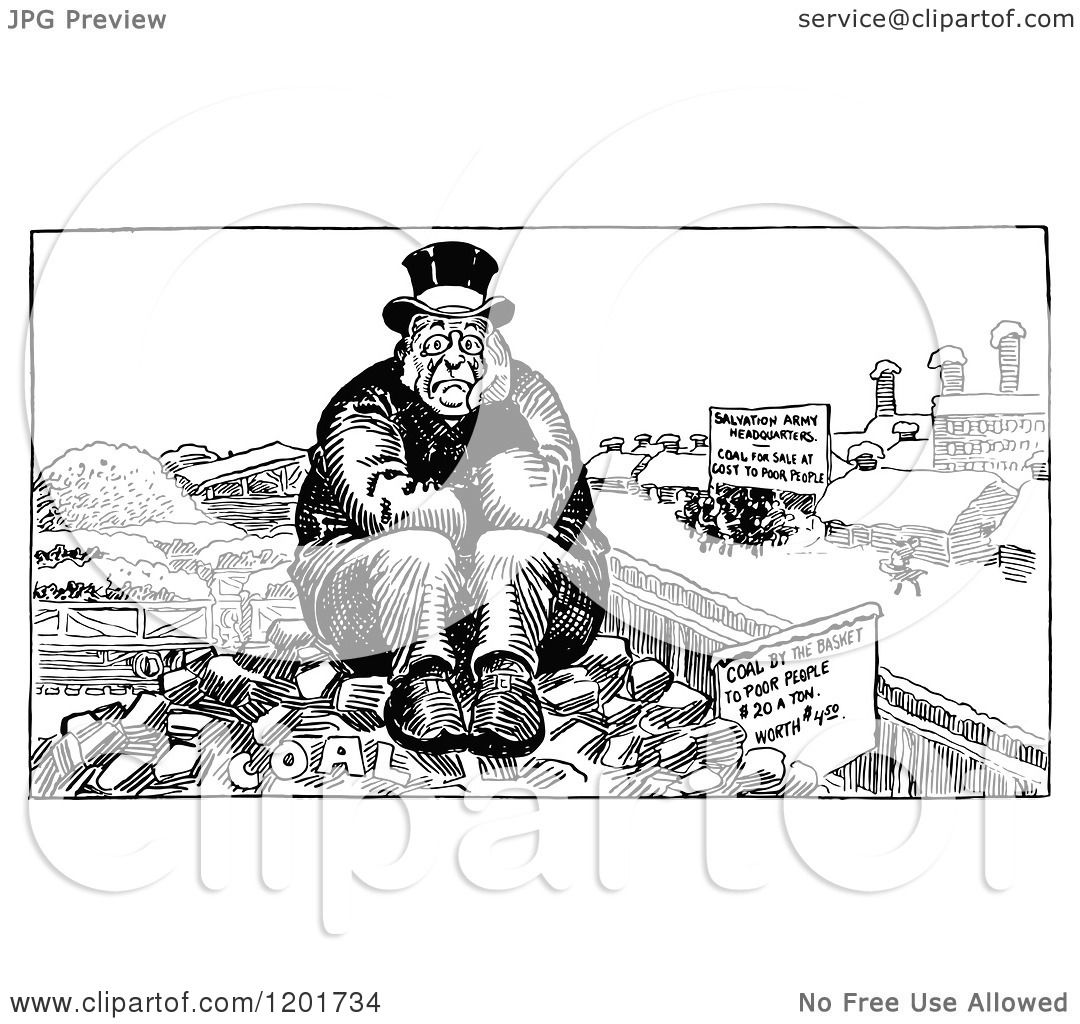 Clipart of a Vintage Black and White Coal Dealer - Royalty Free ...