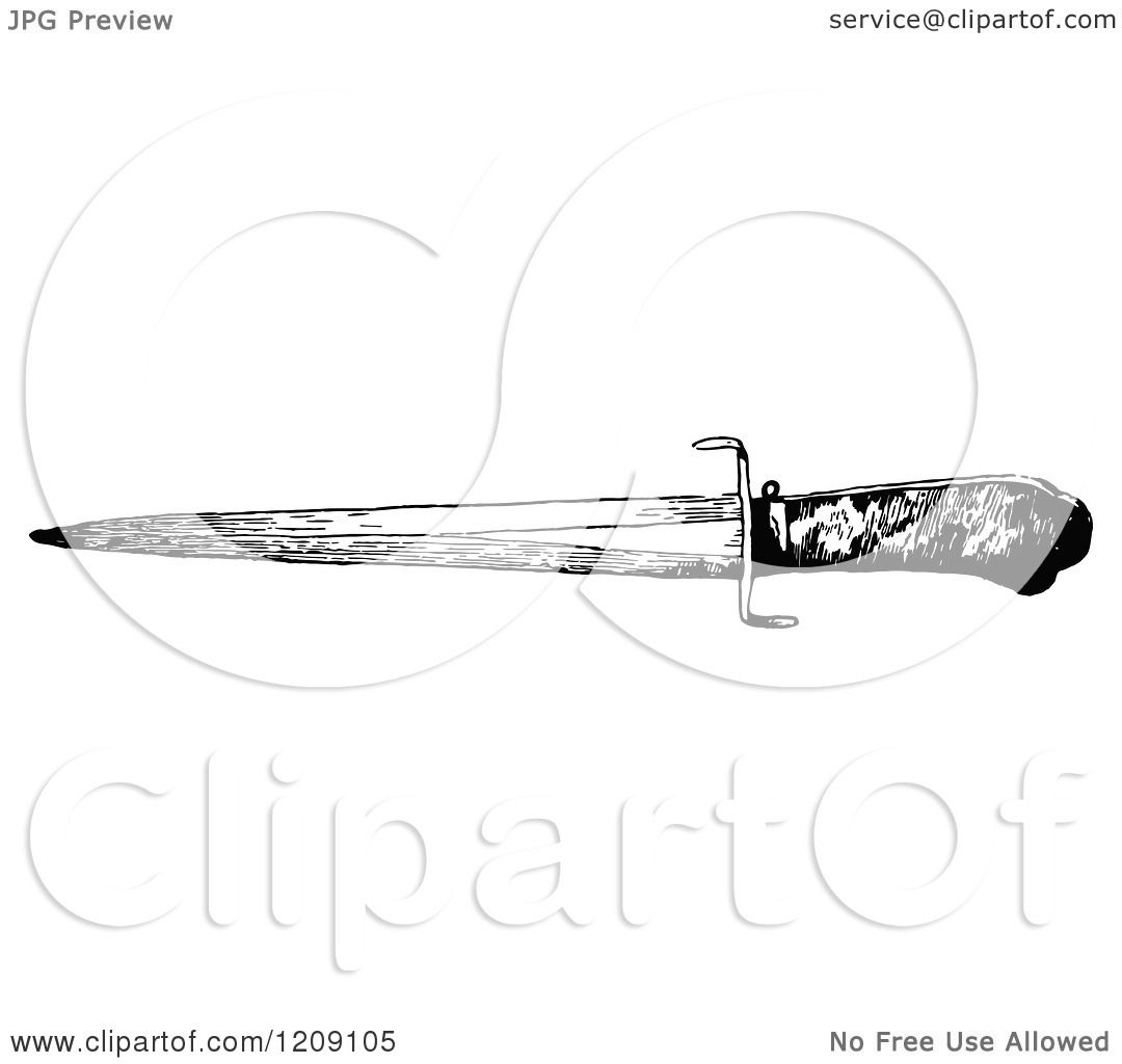 Clipart of a Vintage Black and White Dagger - Royalty Free ...
