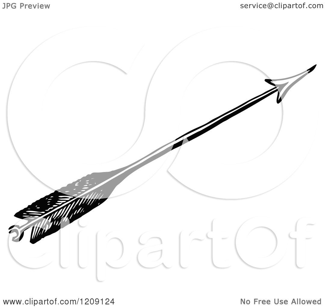 Clipart Of A Vintage Black And White Feathered Archery