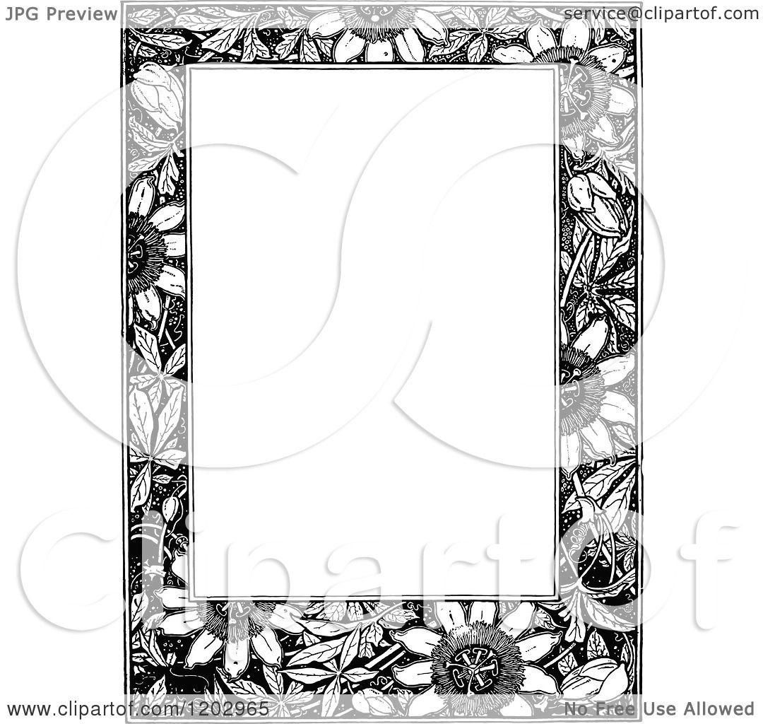 Clipart of a Vintage Black and White Floral Page Border 4 ...