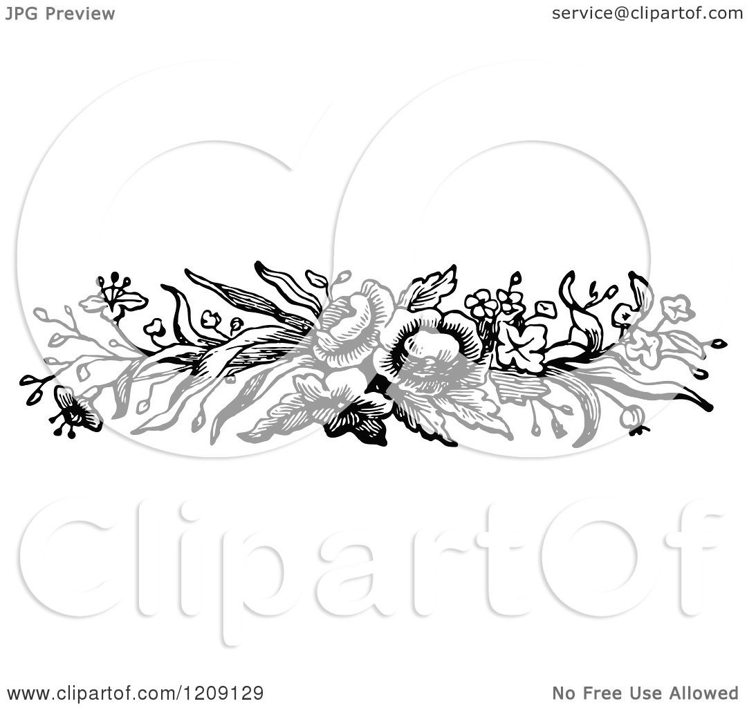 Clipart Of A Vintage Black And White Flower Border