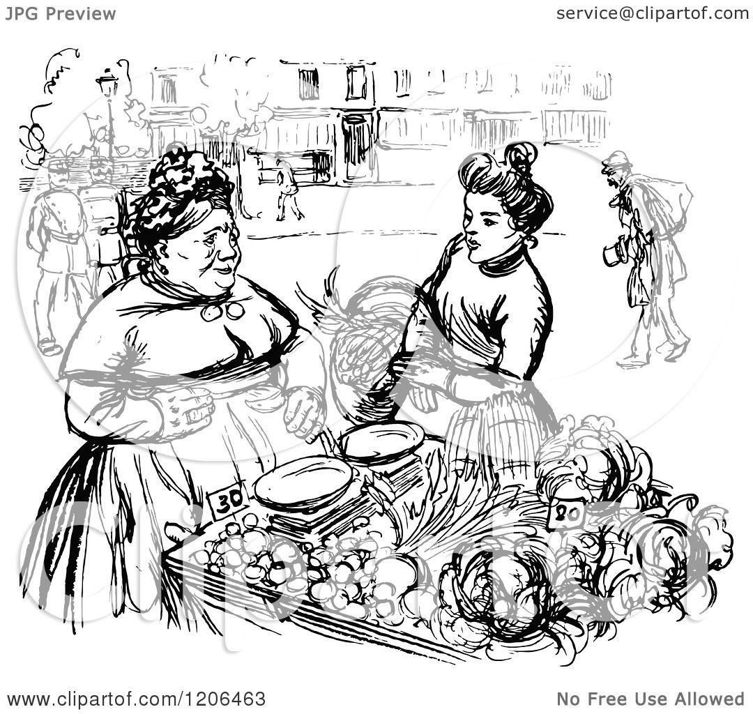 Clipart of a Vintage Black and White Food Vendor and ...