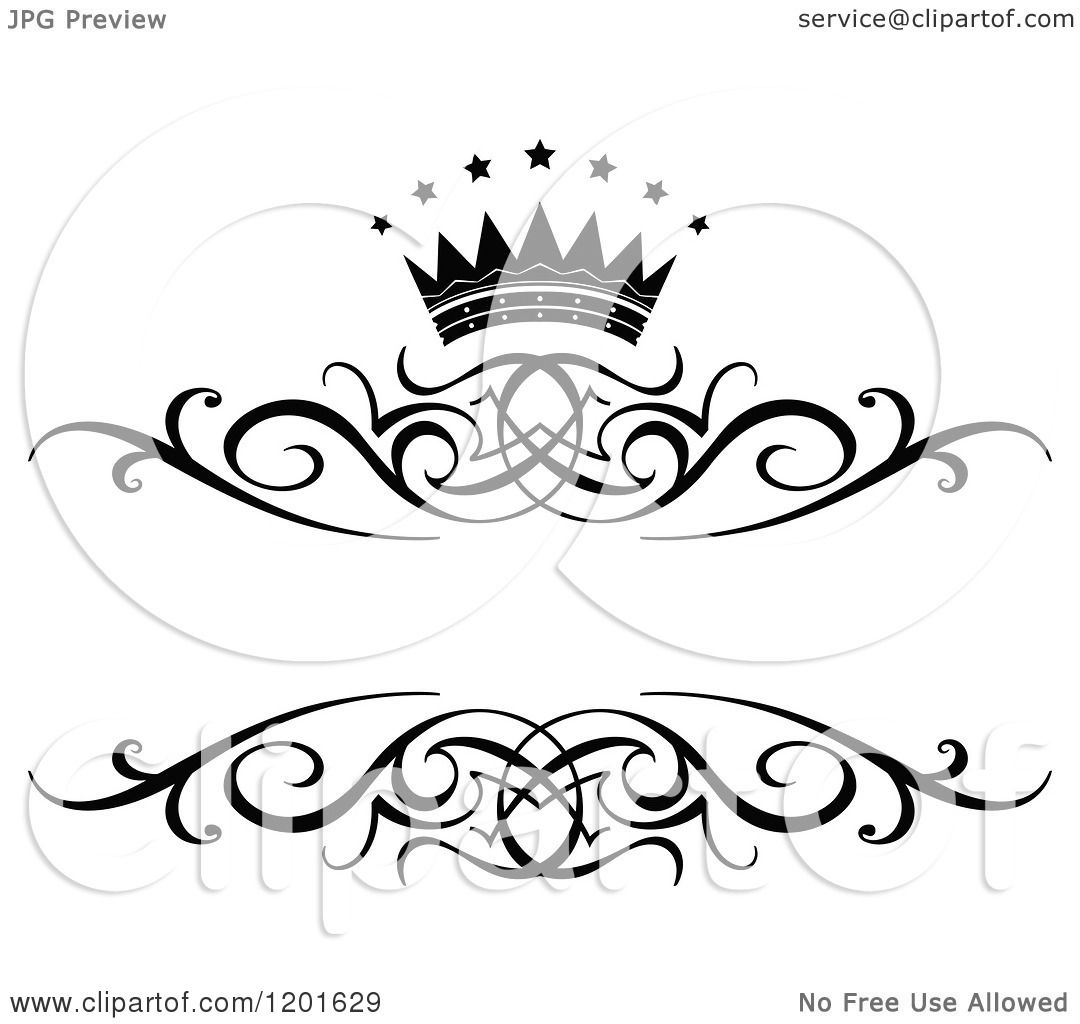clipart of a vintage black and white frame with a crown and stars 2 royalty free vector illustration by vector tradition sm