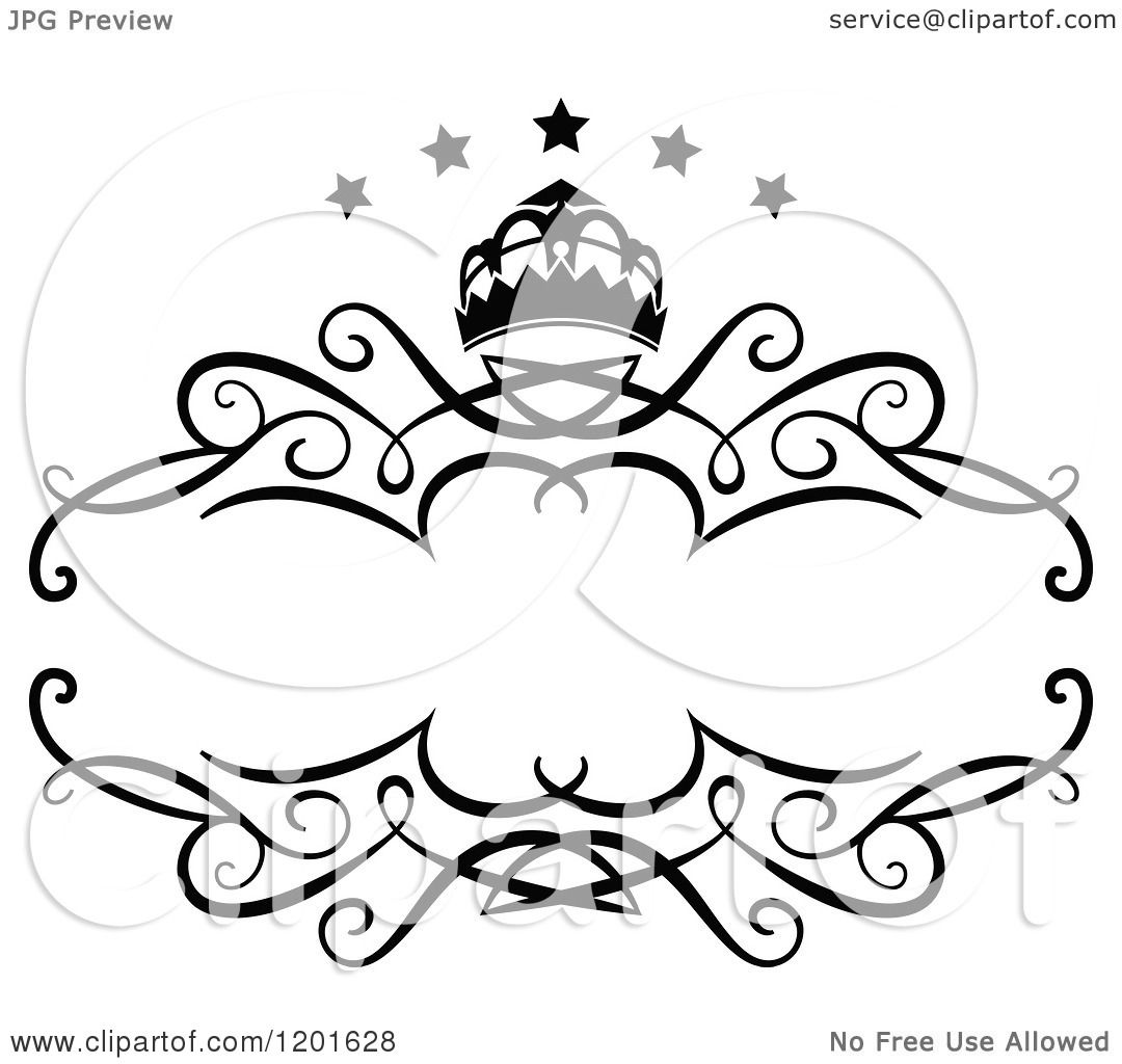 clipart of a vintage black and white frame with a crown and stars royalty free vector illustration by vector tradition sm
