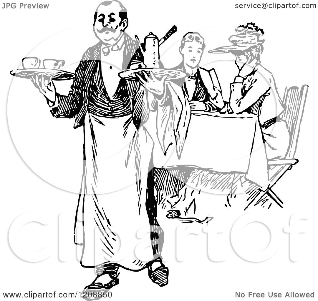 Vintage Black And White French Waiter And Diners 1208850 on 8 dogs illustration