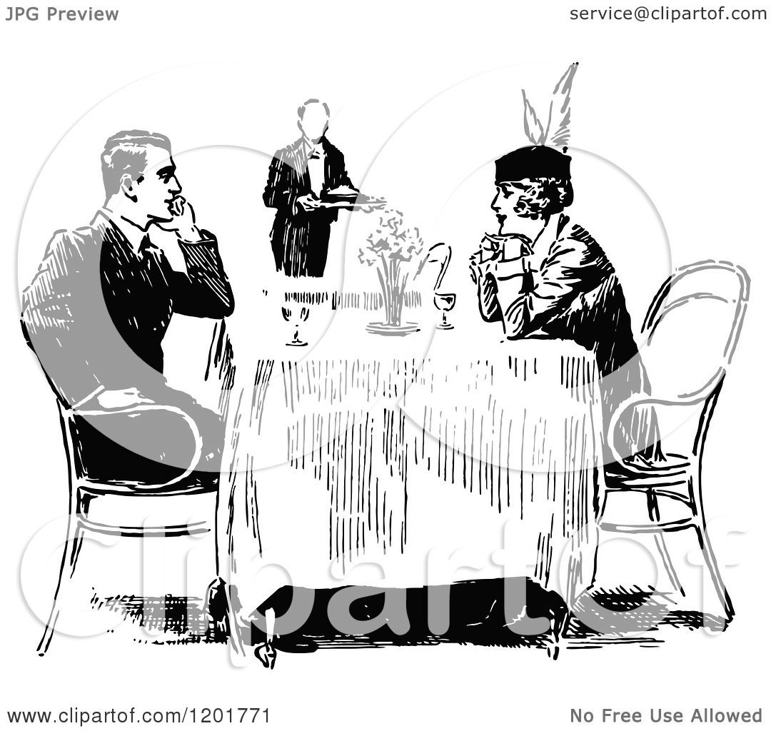 Clipart of a Vintage Black and White Happy Couple Dining ...