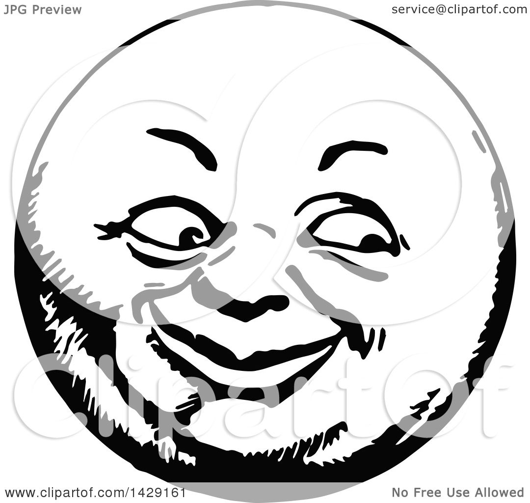 Clipart of a Vintage Black and White Happy Moon Face ...