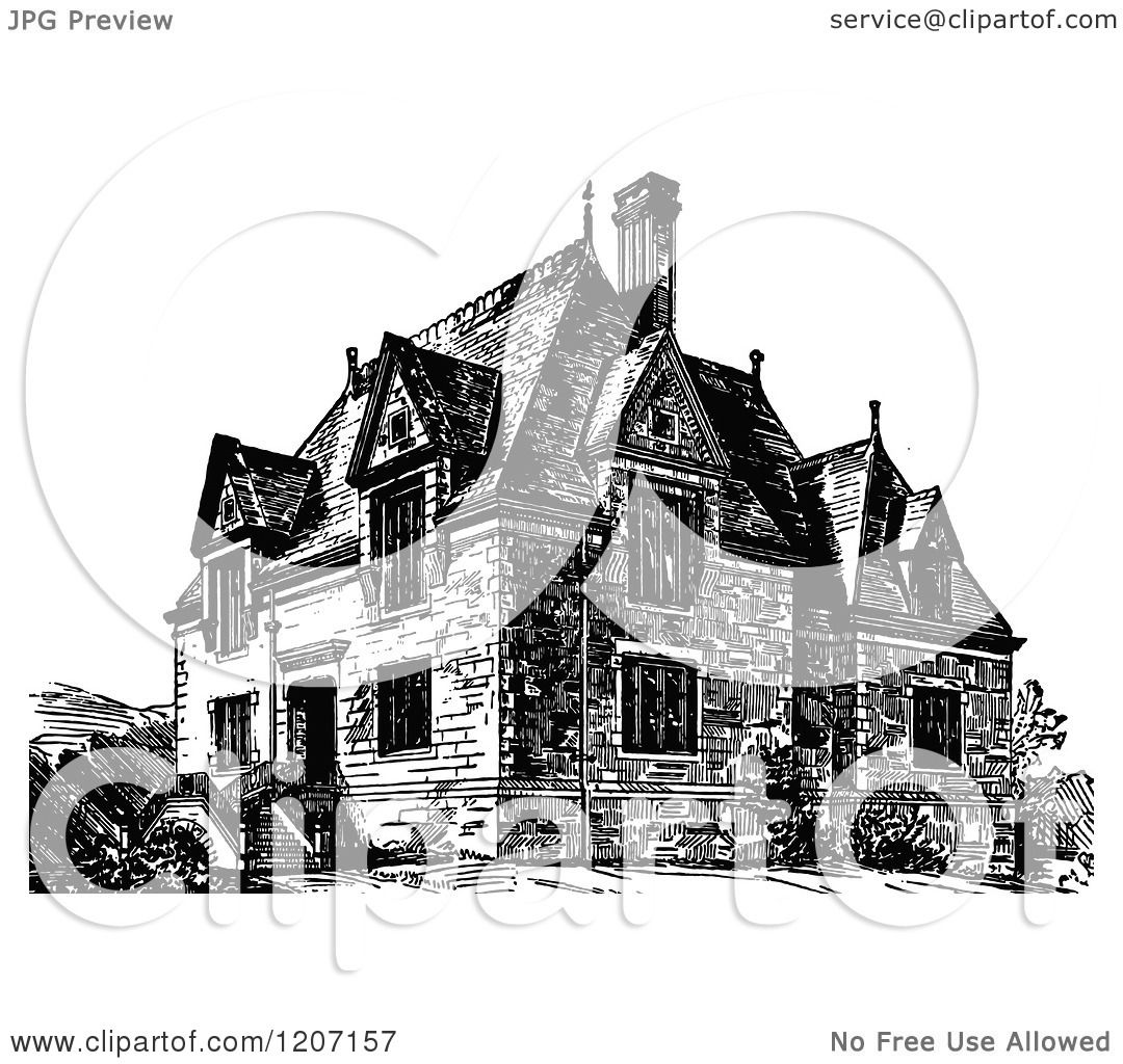 Storefront Illustration Black And White Clipart of a vintage black and