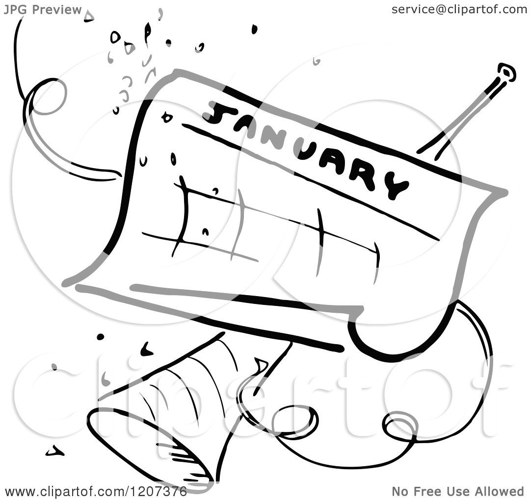 Clipart Of A Vintage Black And White January Calendar With Party Confetti Horn