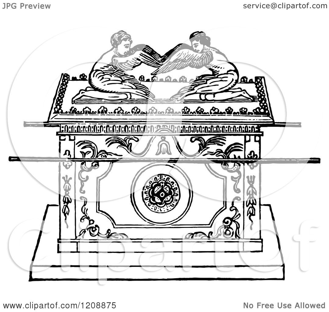 Coloring picture of the ark of covenant - Clipart Of A Vintage Black And White Jewish Biblical Ark Of The Covenant Royalty Free Vector Illustration By Prawny Vintage