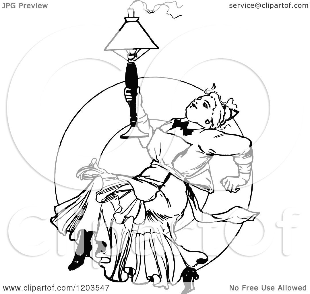 Black Ceiling Lamp Royalty Free Vector Image: Clipart Of A Vintage Black And White Lady With A Lamp